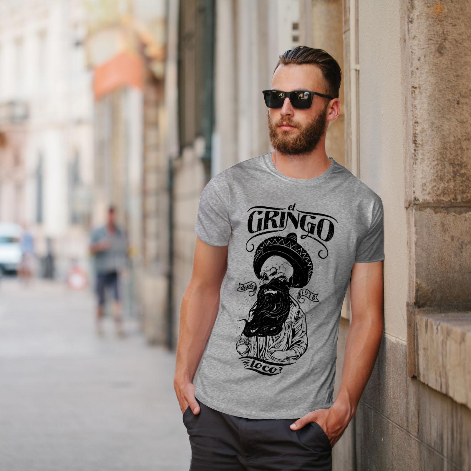 Wellcoda-Gringo-Beard-Skull-Mens-T-shirt-Mexico-Graphic-Design-Printed-Tee thumbnail 17
