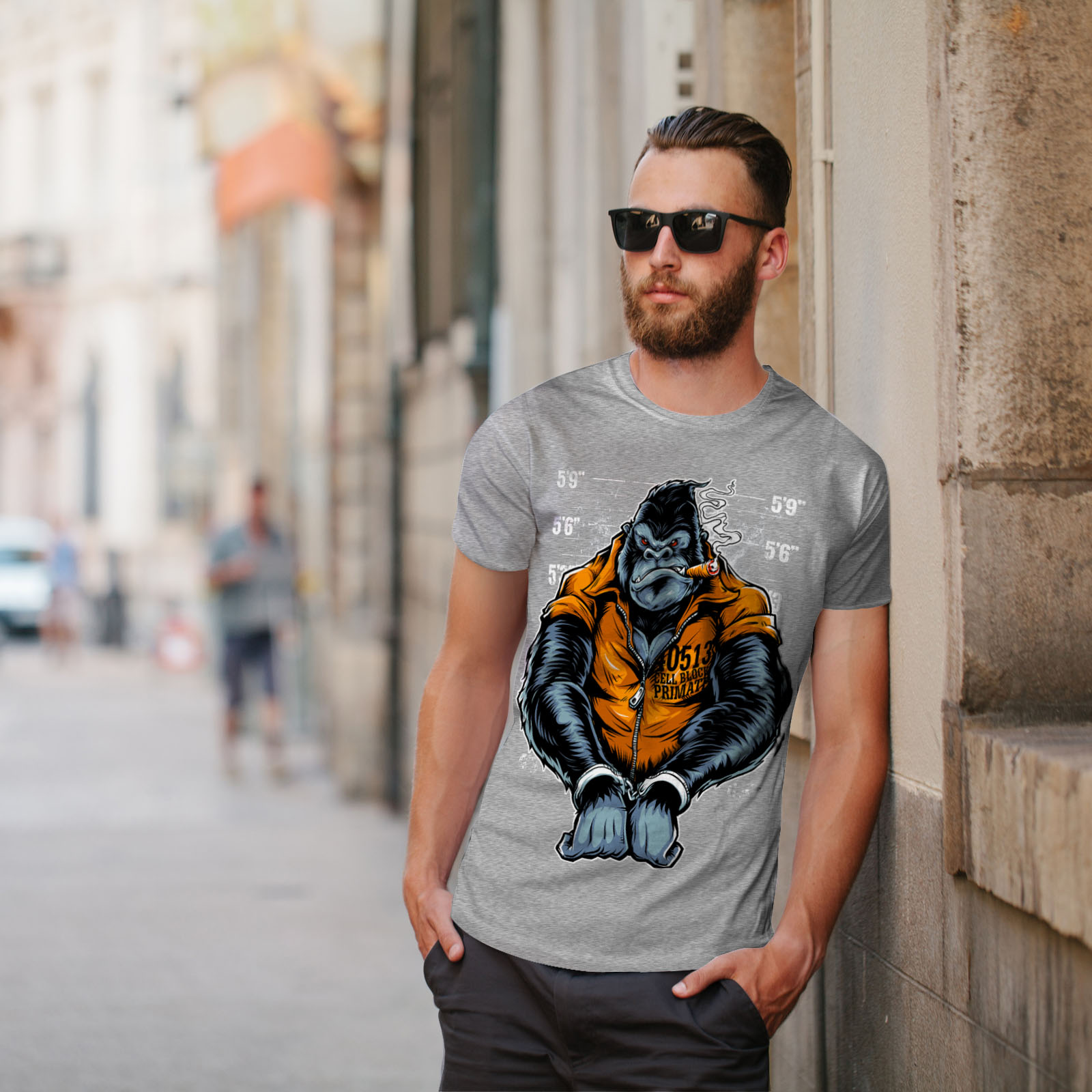 Wellcoda-Monkey-Ape-Prison-Mens-T-shirt-Wild-Graphic-Design-Printed-Tee thumbnail 17