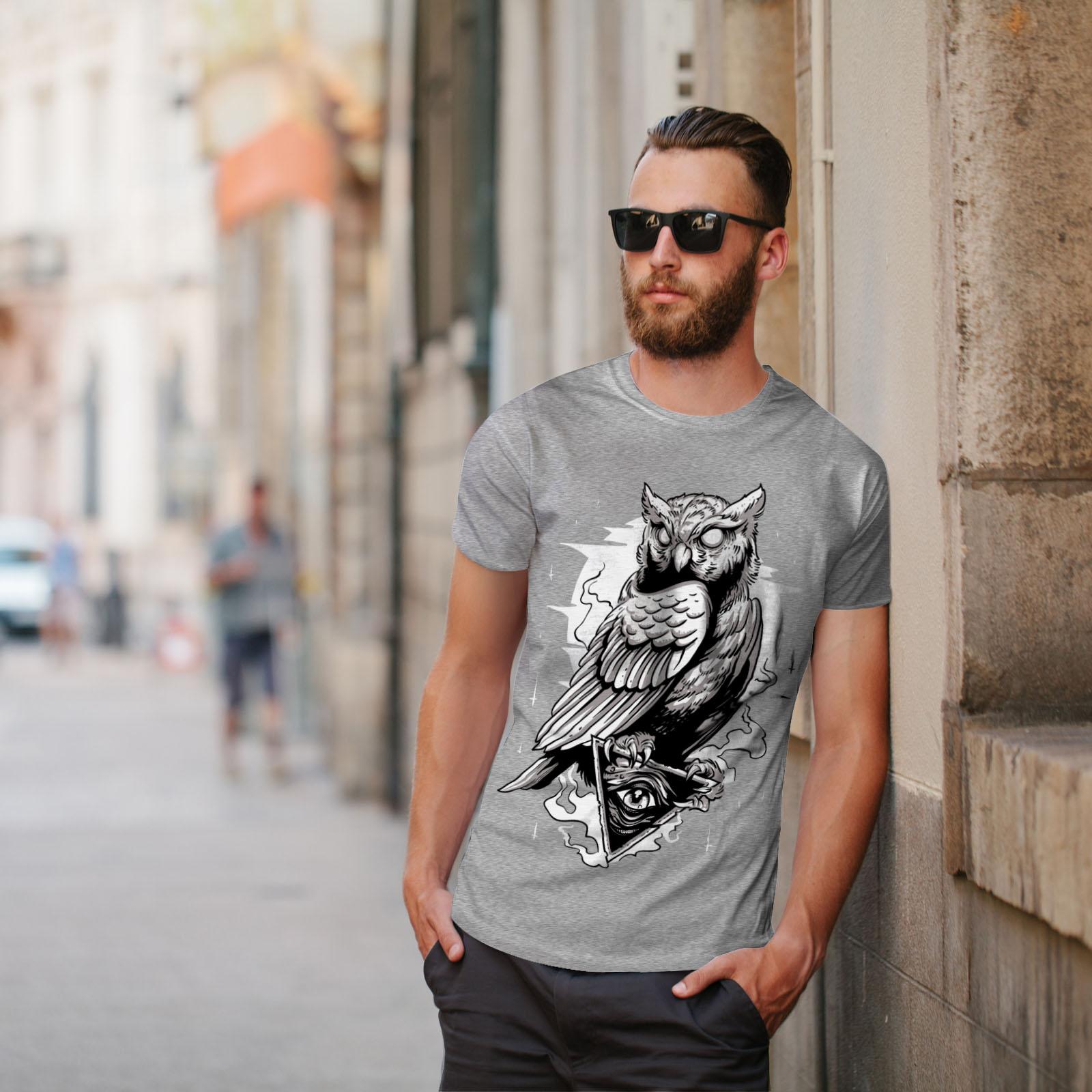miniature 17 - Wellcoda Triangle Owl Mens T-shirt, Conspiracy Graphic Design Printed Tee