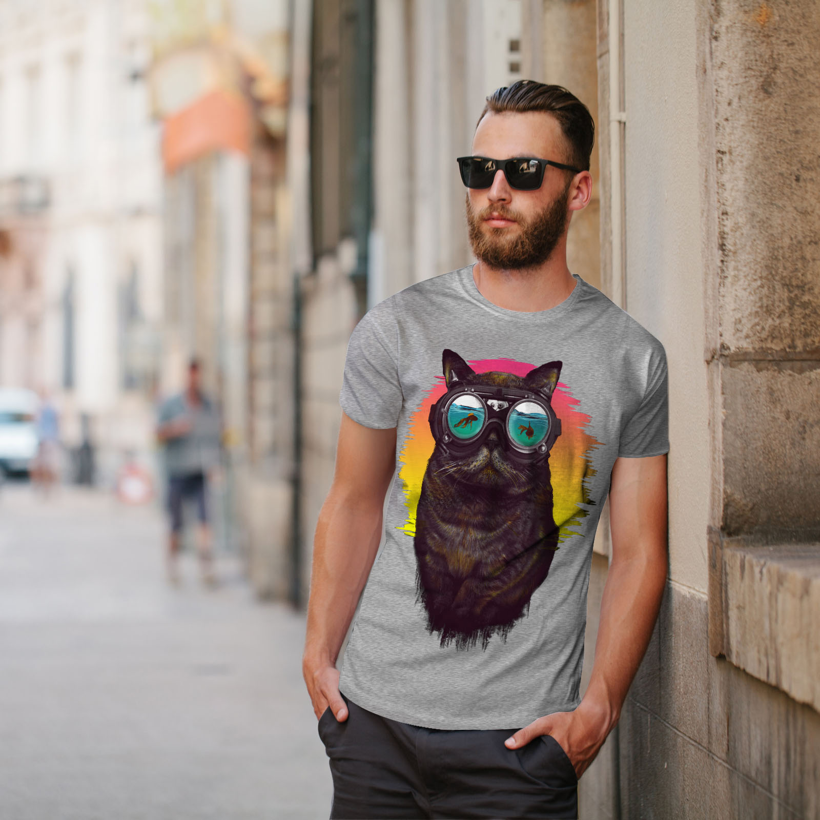 Wellcoda-Hippie-Glasses-Cool-Cat-Mens-T-shirt-Fish-Graphic-Design-Printed-Tee thumbnail 17