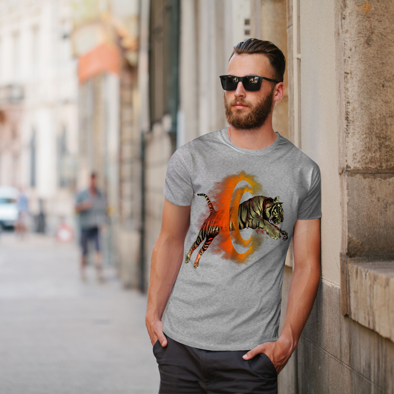 Wellcoda-Tiger-Portal-Cool-Mens-T-shirt-Flame-Graphic-Design-Printed-Tee thumbnail 17