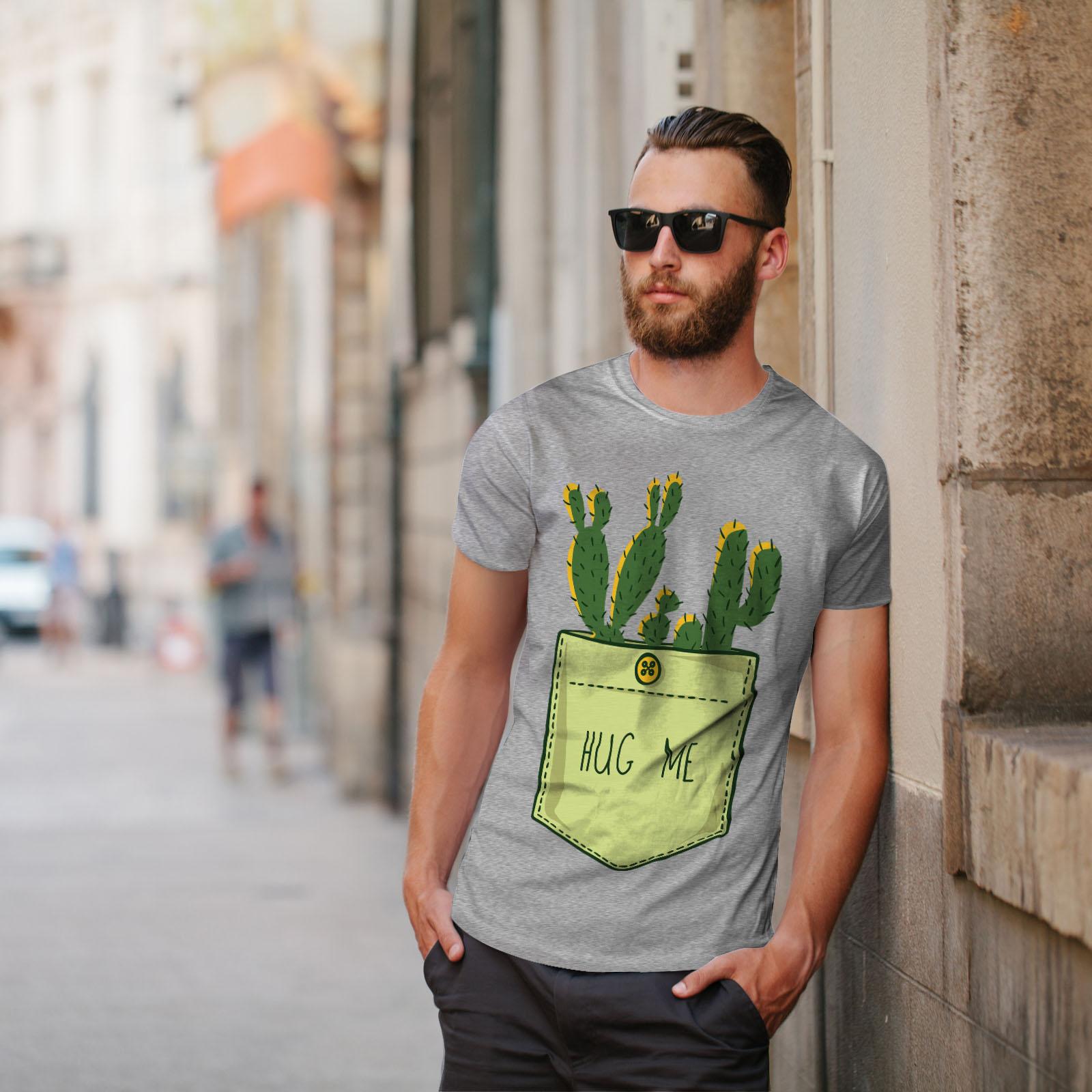 miniature 17 - Wellcoda Hug Me Cactus Funny Mens T-shirt,  Graphic Design Printed Tee