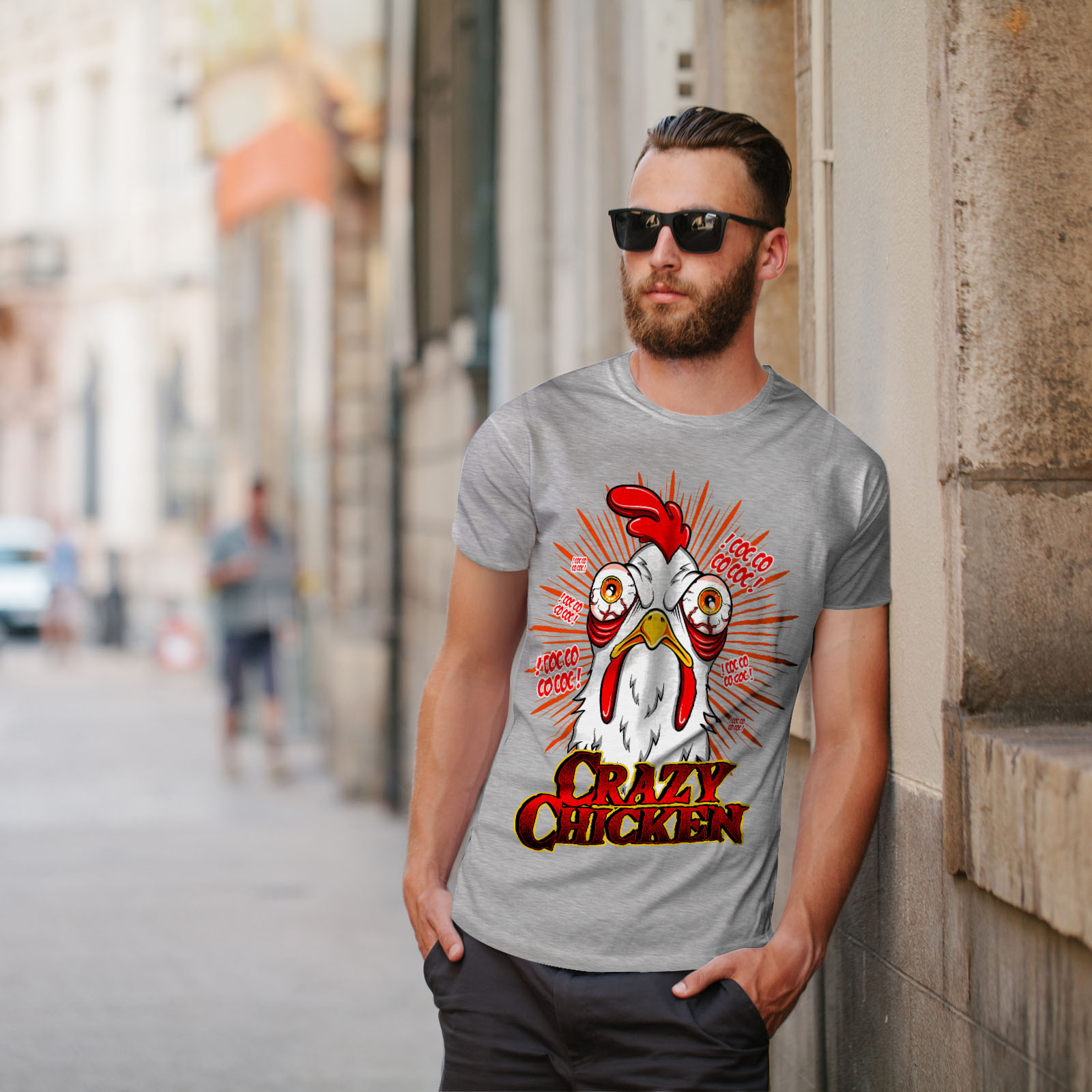 thumbnail 17 - Wellcoda-Crazy-Chicken-Mens-T-shirt-Funny-Face-Graphic-Design-Printed-Tee