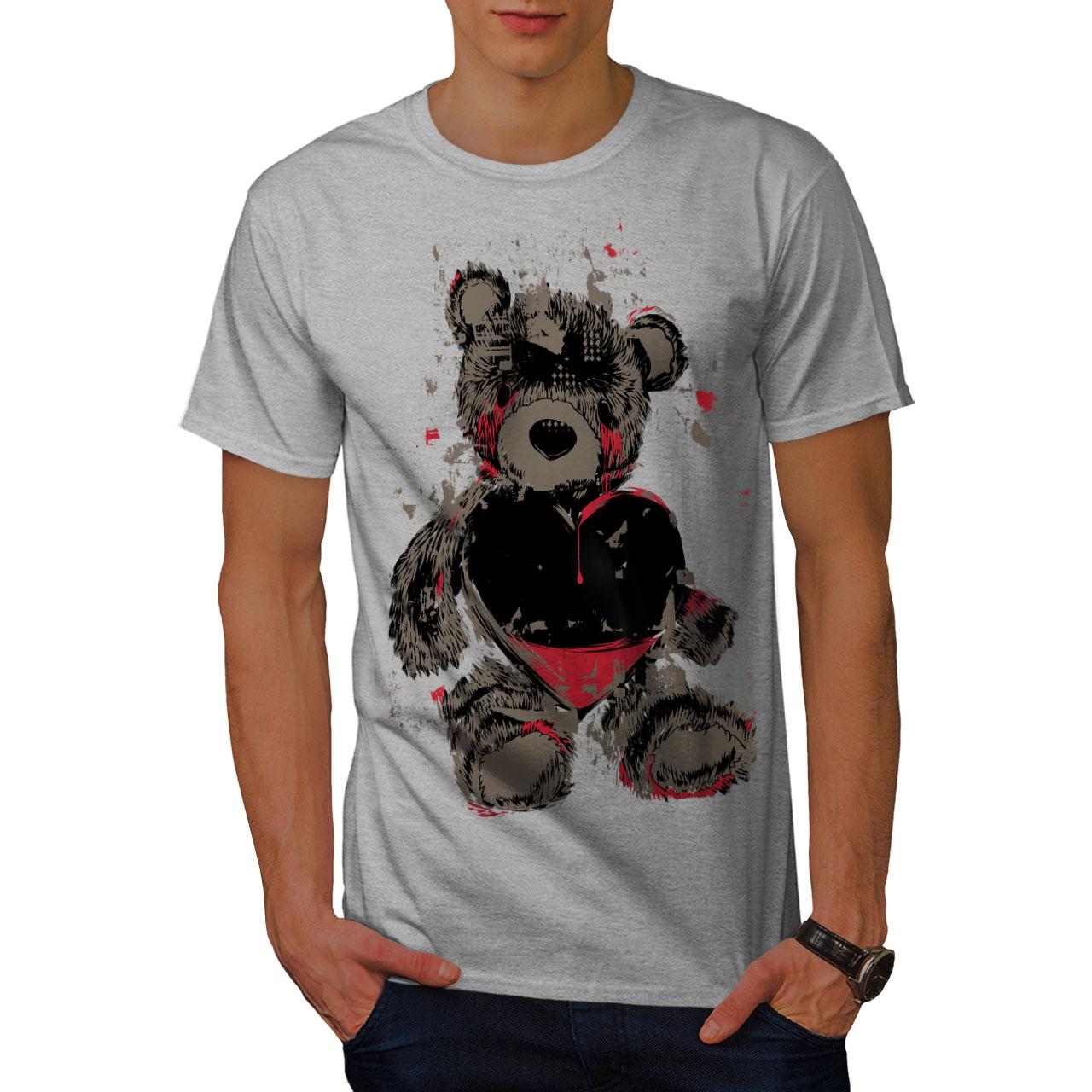 miniature 15 - Wellcoda Teddy Bear Love Hurt Mens T-shirt, Blood Graphic Design Printed Tee