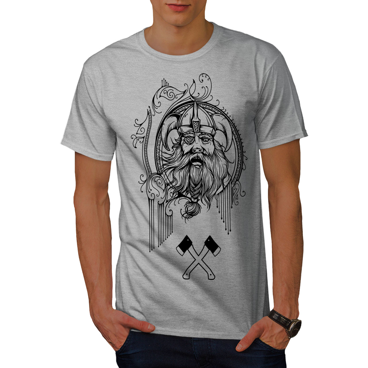 4d850d6f Wellcoda Viking Face Warrior Mens T-shirt, Battle Graphic Design ...