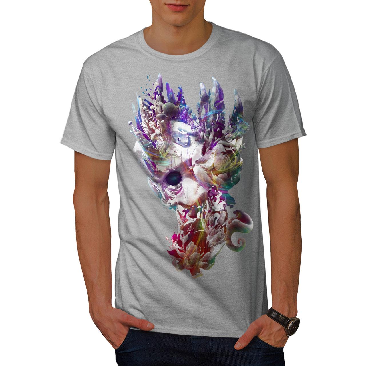 Wellcoda ART faccia Mystic Moda Da Uomo T-shirt Corallo design grafico stampato T-shirt