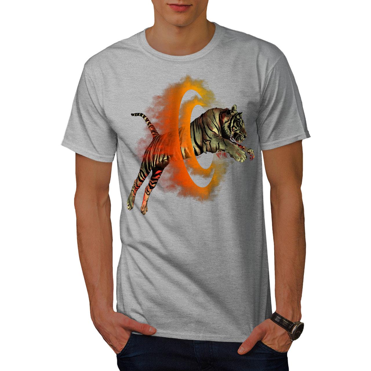 Wellcoda-Tiger-Portal-Cool-Mens-T-shirt-Flame-Graphic-Design-Printed-Tee thumbnail 15