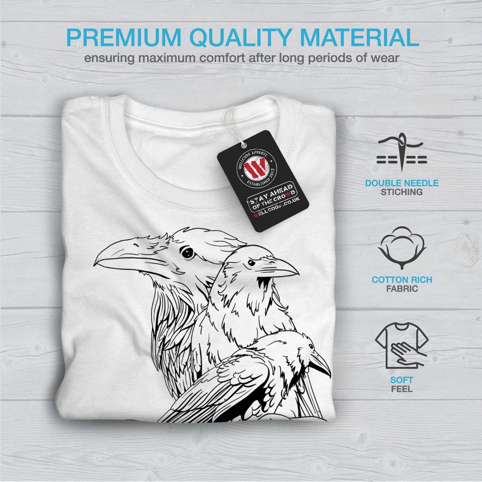 miniature 13 - Wellcoda Four Scary Raven Mens T-shirt, Crow Birds Graphic Design Printed Tee