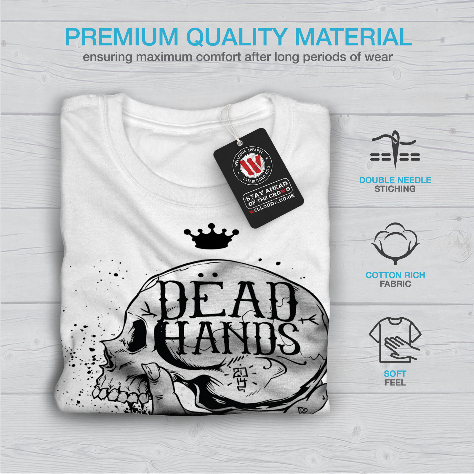 Dettagli su Wellcoda MORTO mano Goth Da Uomo T Shirt, Teschio design grafico stampato T shirt mostra il titolo originale