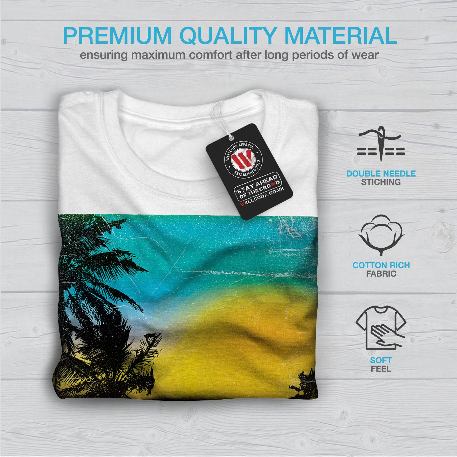Summer Graphic Design Printed Tee Wellcoda Sunset Wild Sea Mens T-shirt