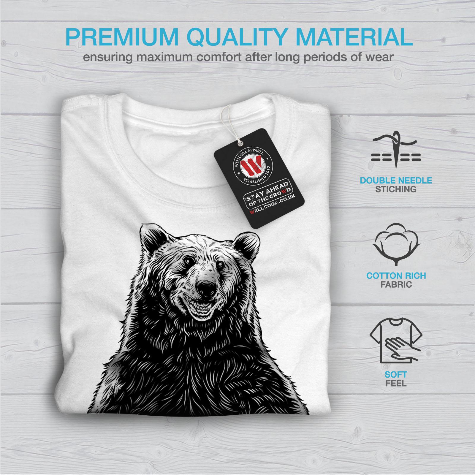 miniature 13 - Wellcoda Fishing Bear Angler Mens T-shirt, Grizzly Graphic Design Printed Tee