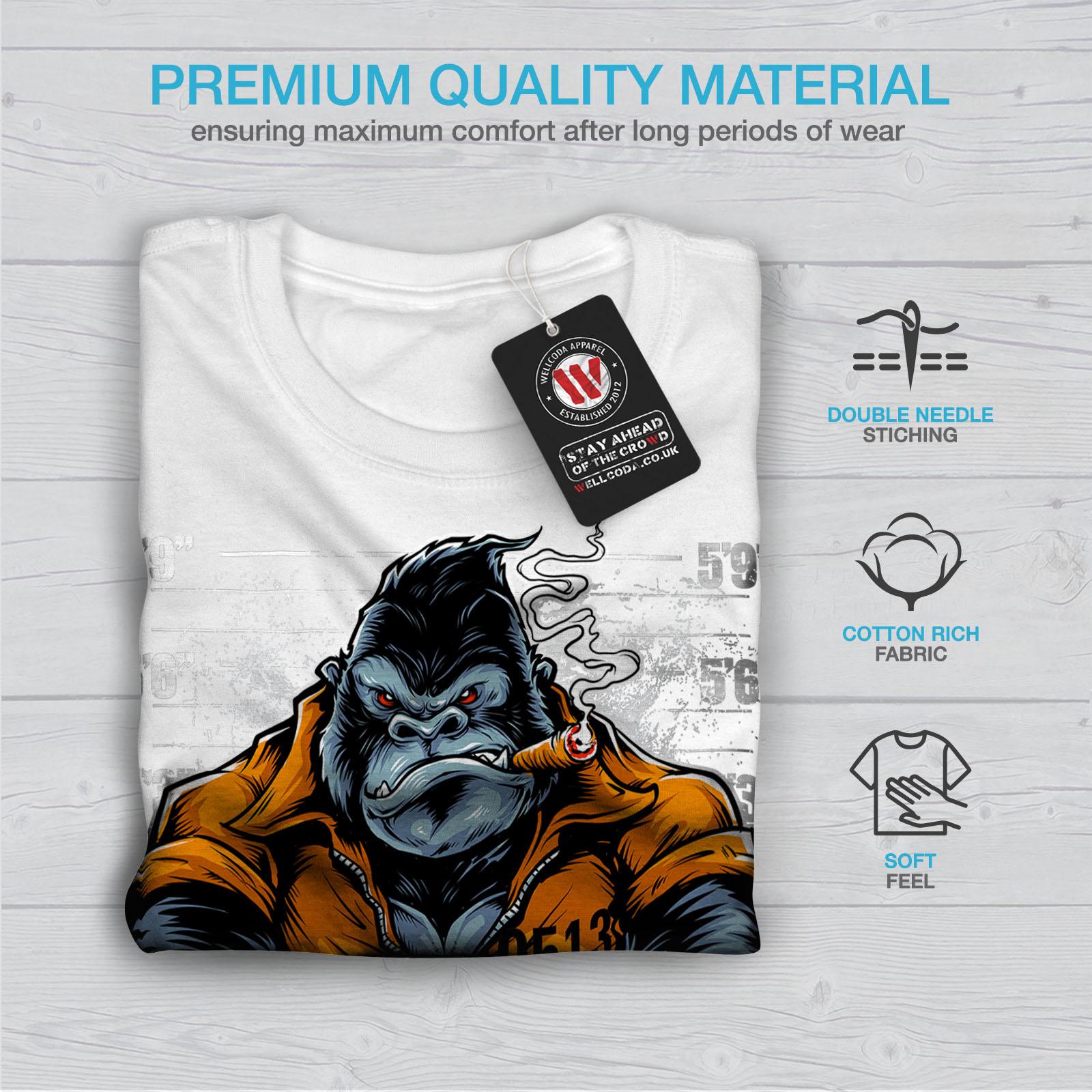Wellcoda-Monkey-Ape-Prison-Mens-T-shirt-Wild-Graphic-Design-Printed-Tee thumbnail 13