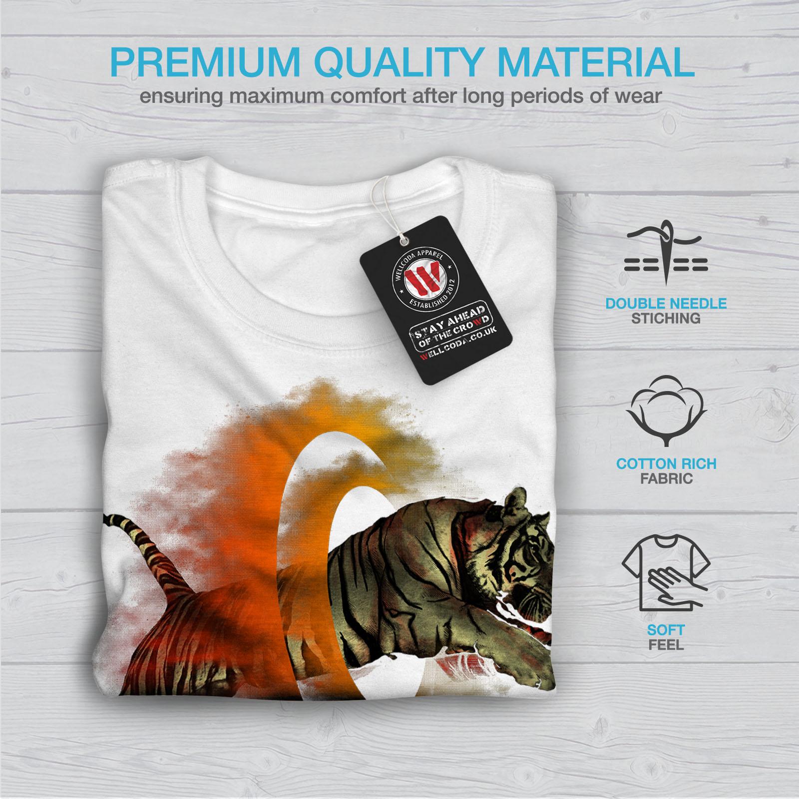 Wellcoda-Tiger-Portal-Cool-Mens-T-shirt-Flame-Graphic-Design-Printed-Tee thumbnail 13