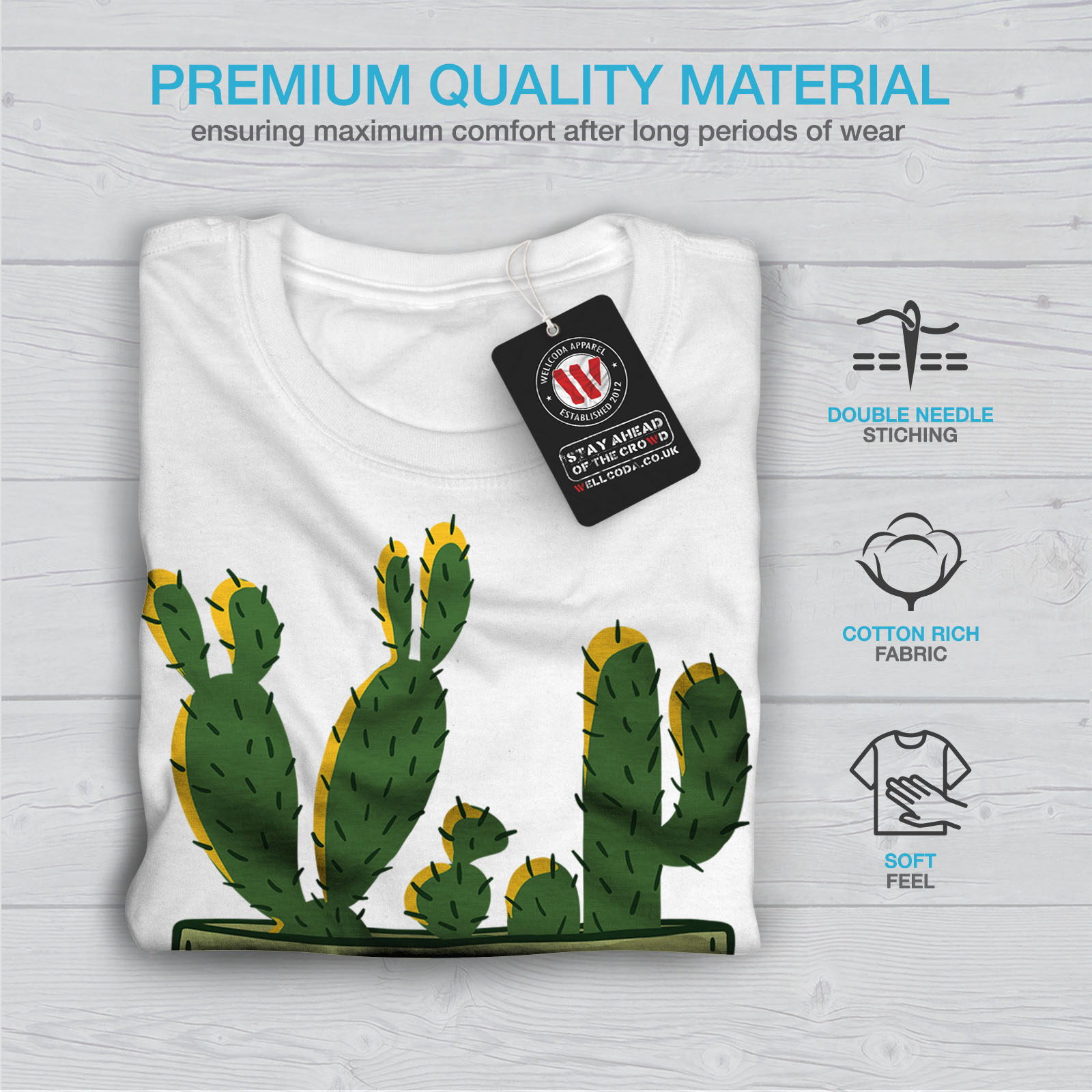 miniature 13 - Wellcoda Hug Me Cactus Funny Mens T-shirt,  Graphic Design Printed Tee