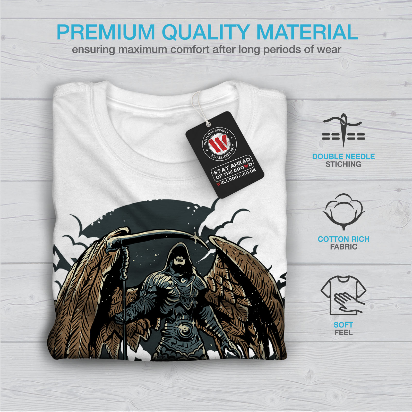 Wellcoda-Evil-Grim-Reaper-Mens-T-shirt-Horror-Graphic-Design-Printed-Tee thumbnail 13