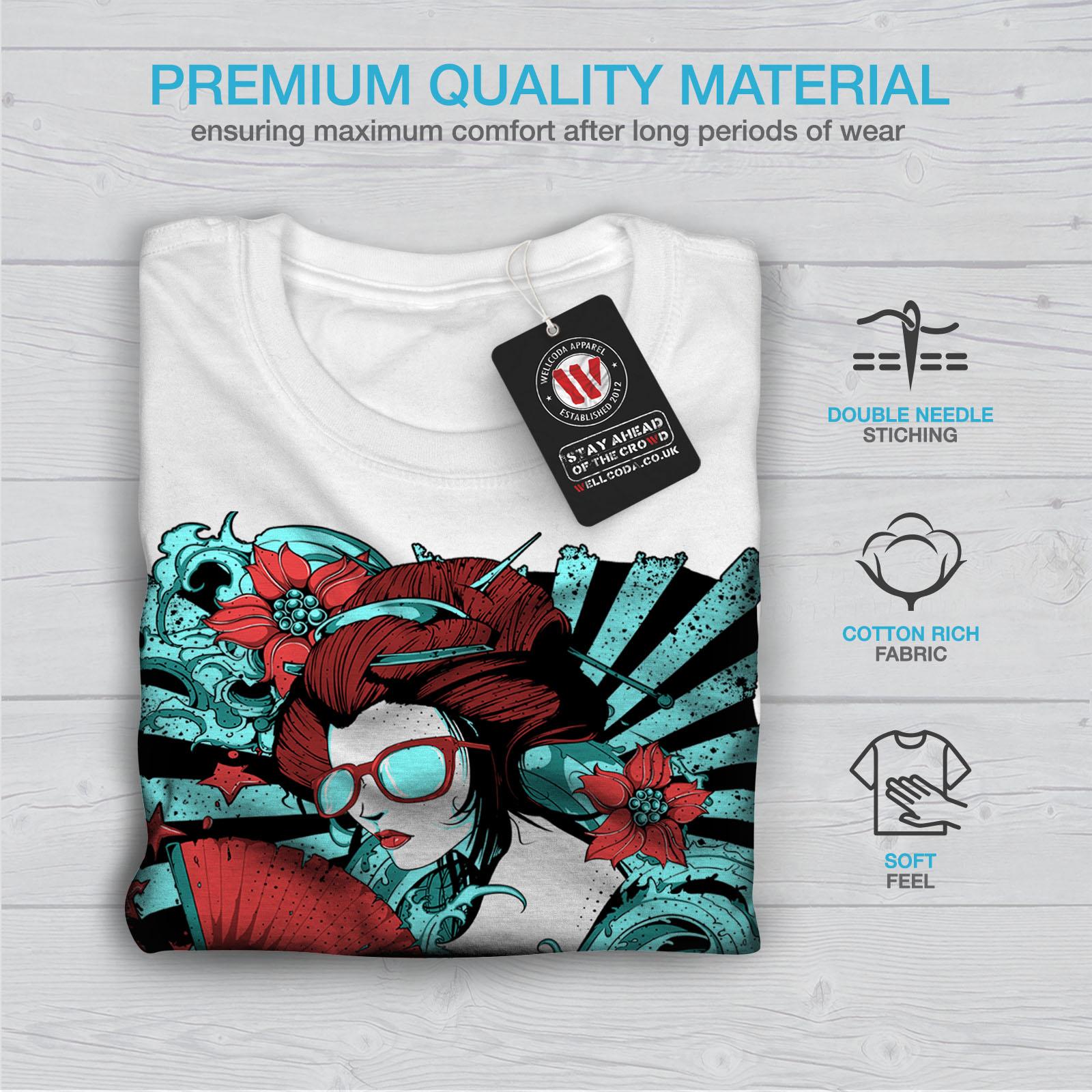 Wellcoda GEISHA FASHION FANTASY Da Uomo T-shirt Retrò Design Grafico Stampato T-shirt