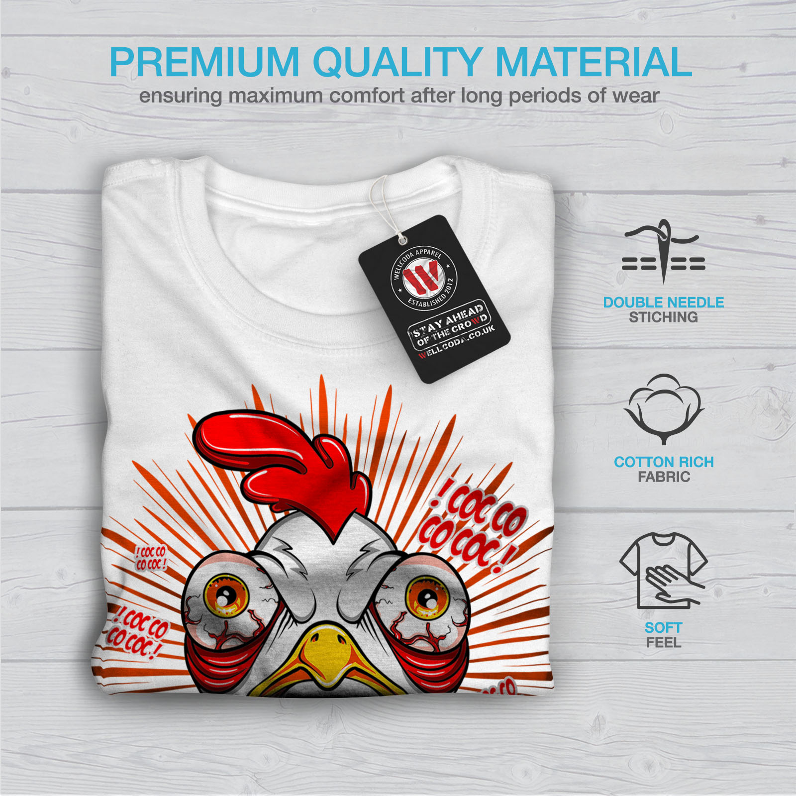 thumbnail 13 - Wellcoda-Crazy-Chicken-Mens-T-shirt-Funny-Face-Graphic-Design-Printed-Tee