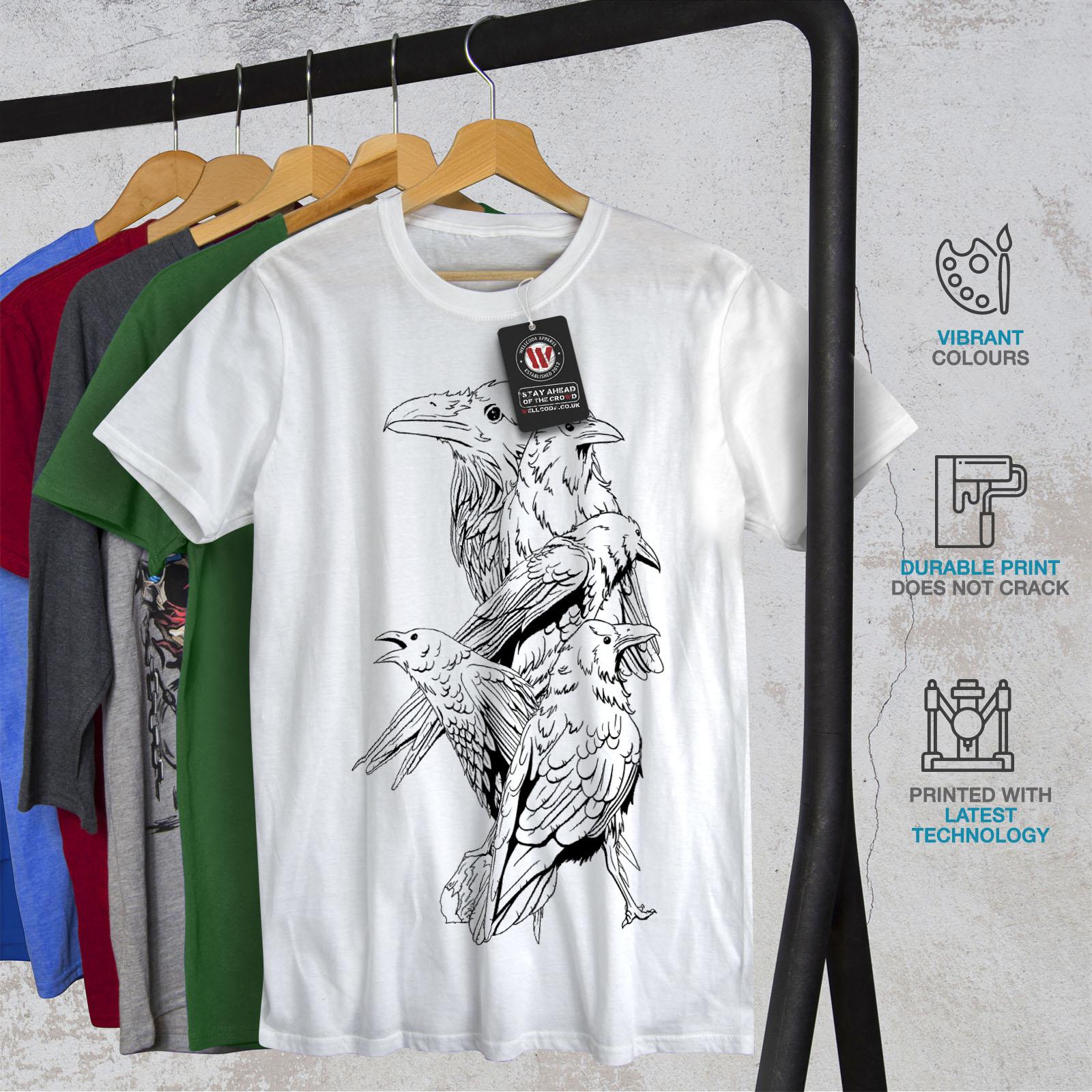 miniature 12 - Wellcoda Four Scary Raven Mens T-shirt, Crow Birds Graphic Design Printed Tee