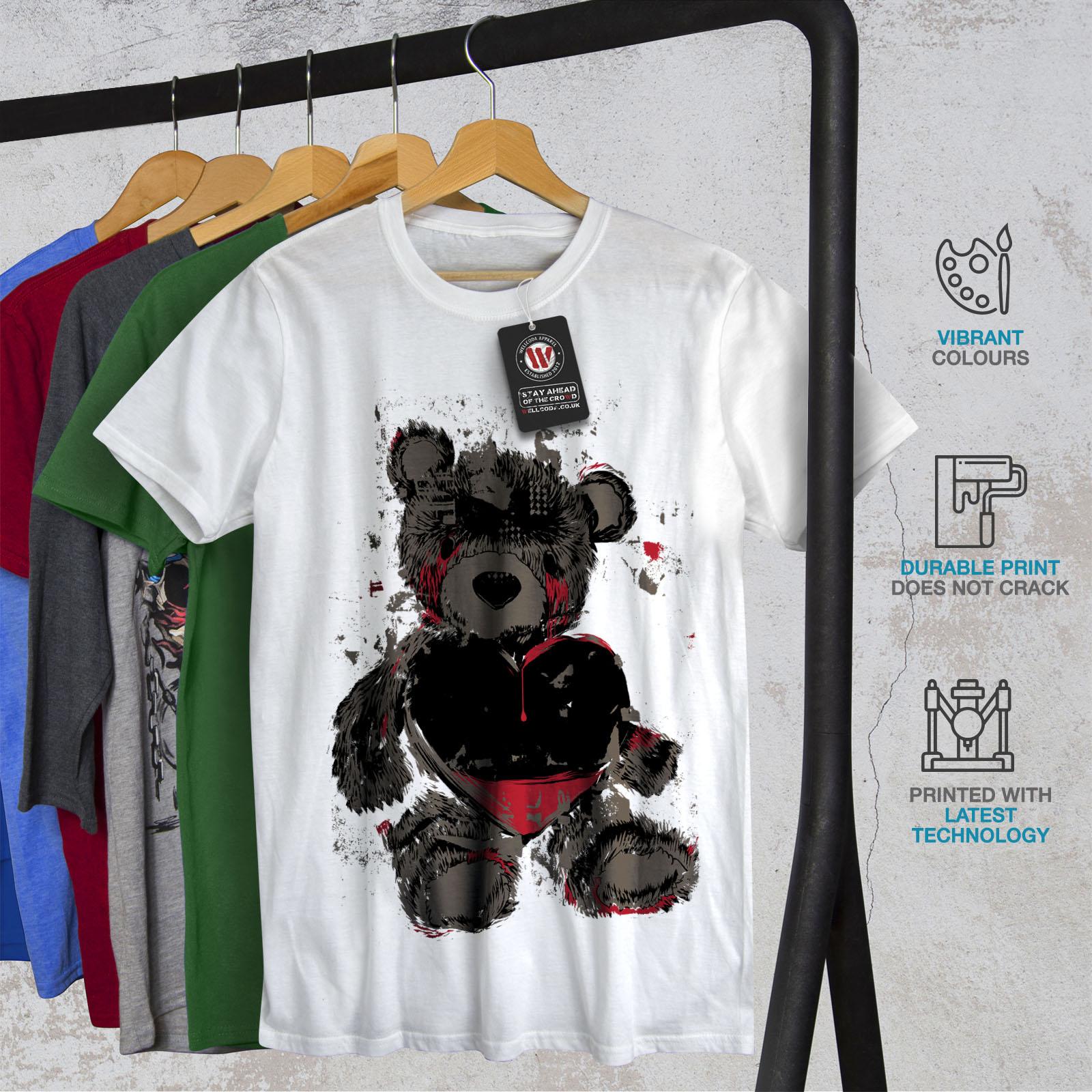 miniature 12 - Wellcoda Teddy Bear Love Hurt Mens T-shirt, Blood Graphic Design Printed Tee