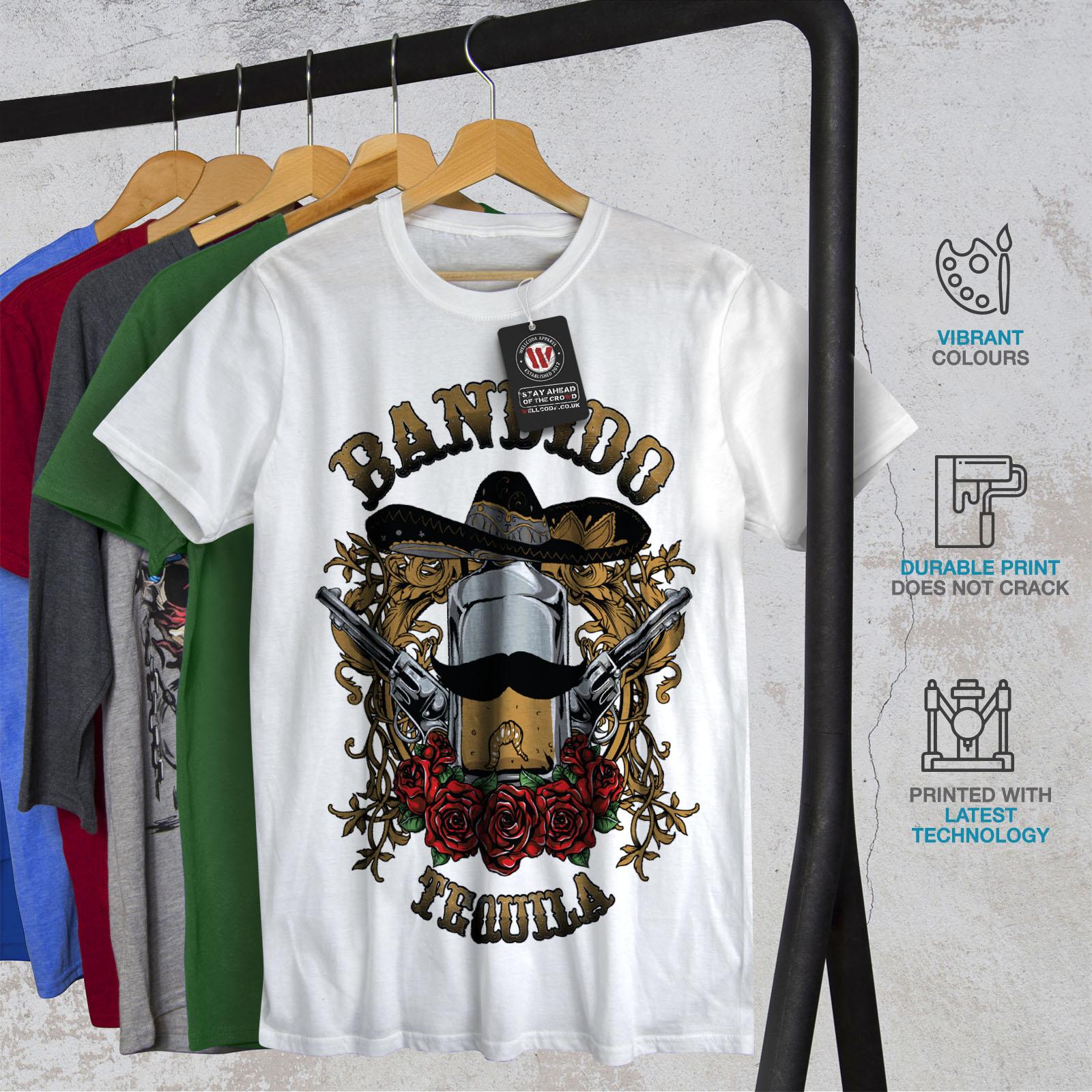 Wellcoda Bandido Tequila Rose Mens T-shirt Mexico Graphic Design Printed Tee