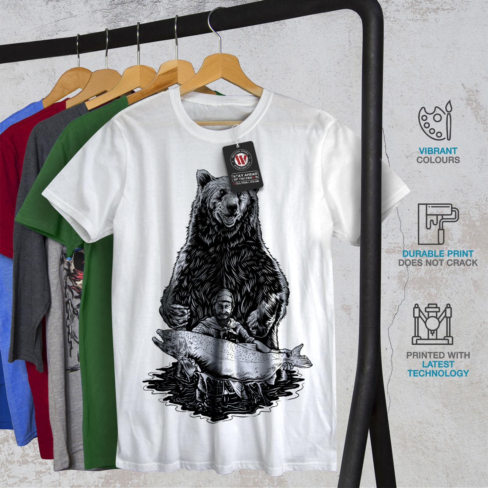 miniature 12 - Wellcoda Fishing Bear Angler Mens T-shirt, Grizzly Graphic Design Printed Tee