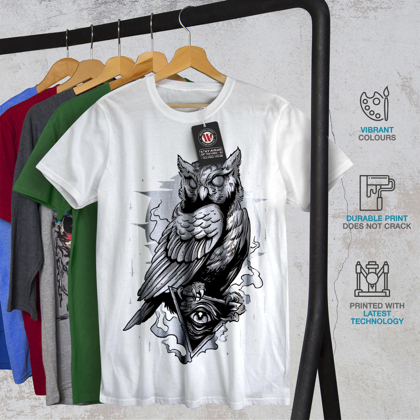 miniature 12 - Wellcoda Triangle Owl Mens T-shirt, Conspiracy Graphic Design Printed Tee