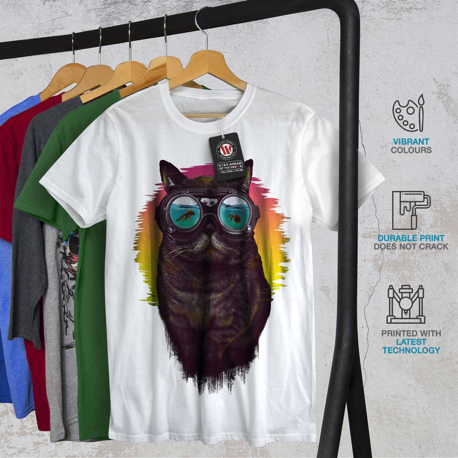 Wellcoda-Hippie-Glasses-Cool-Cat-Mens-T-shirt-Fish-Graphic-Design-Printed-Tee thumbnail 12