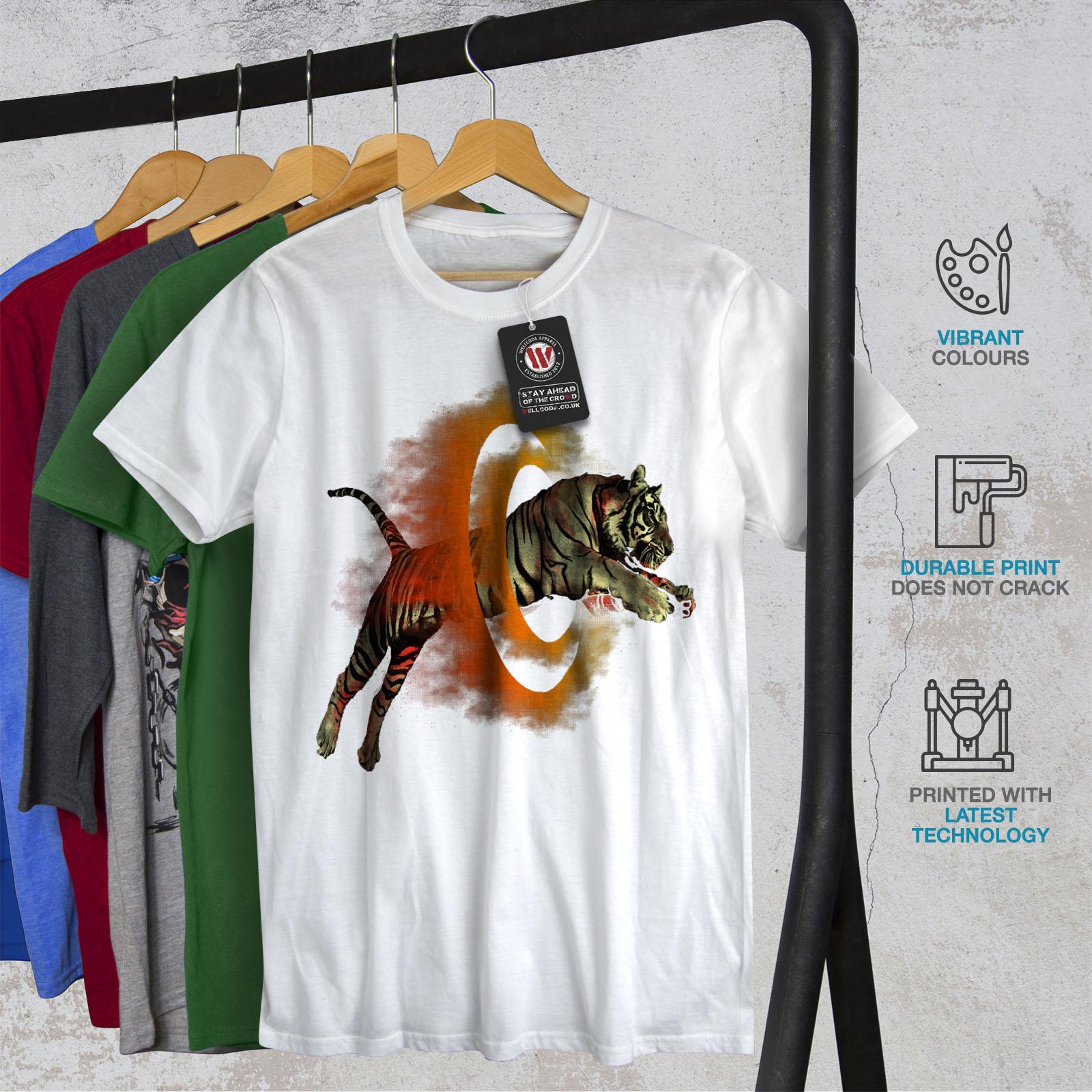 Wellcoda-Tiger-Portal-Cool-Mens-T-shirt-Flame-Graphic-Design-Printed-Tee thumbnail 12