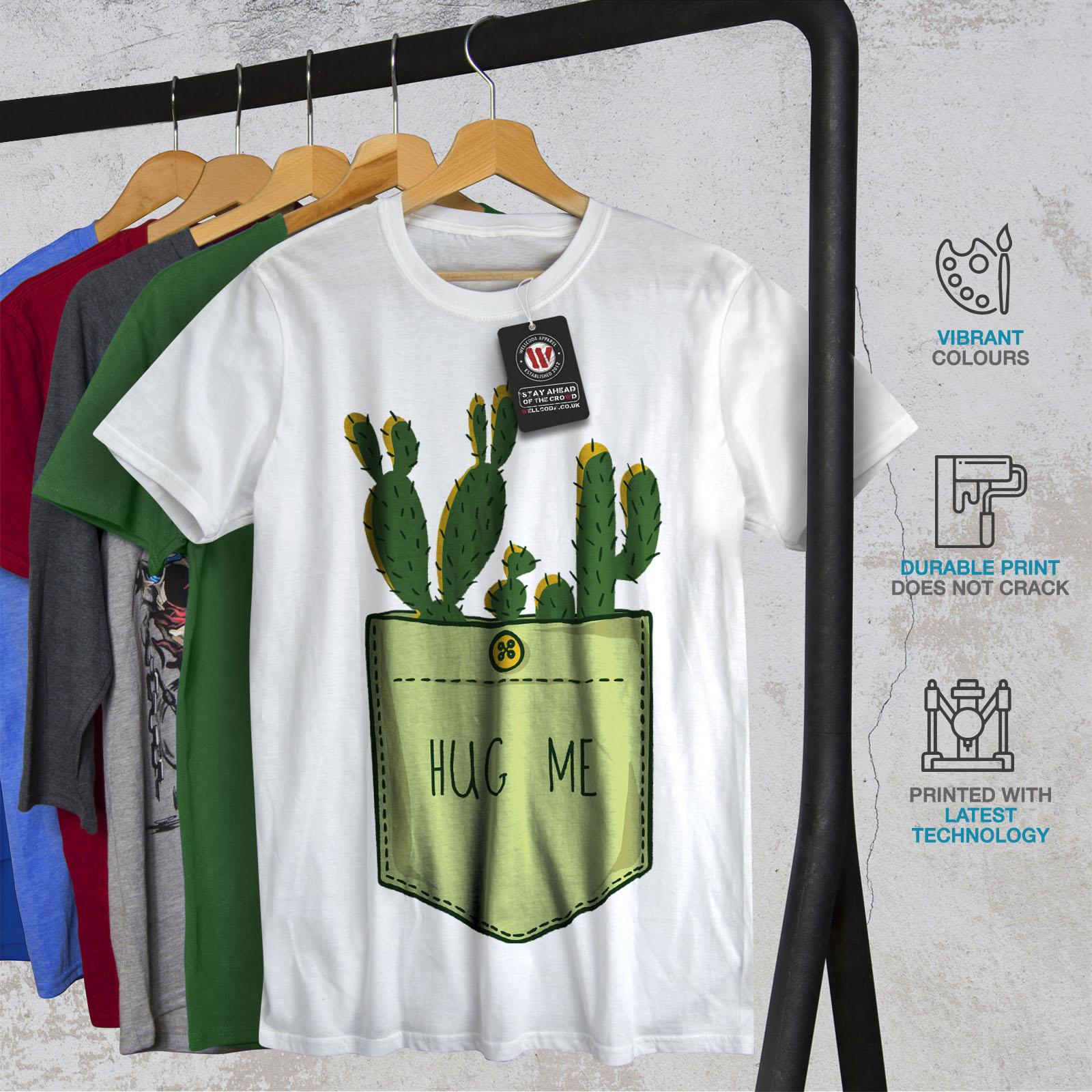 miniature 12 - Wellcoda Hug Me Cactus Funny Mens T-shirt,  Graphic Design Printed Tee