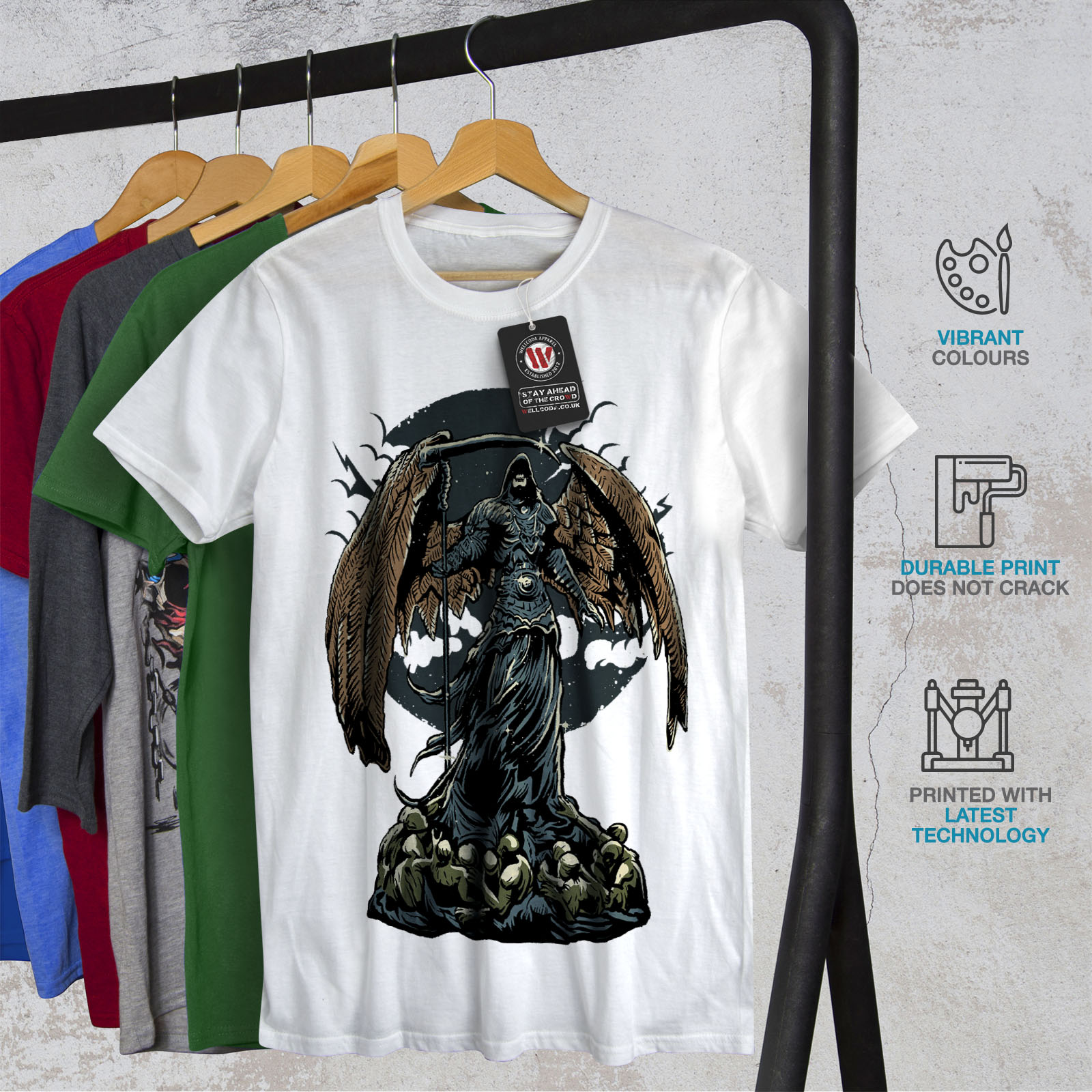 Wellcoda-Evil-Grim-Reaper-Mens-T-shirt-Horror-Graphic-Design-Printed-Tee thumbnail 12