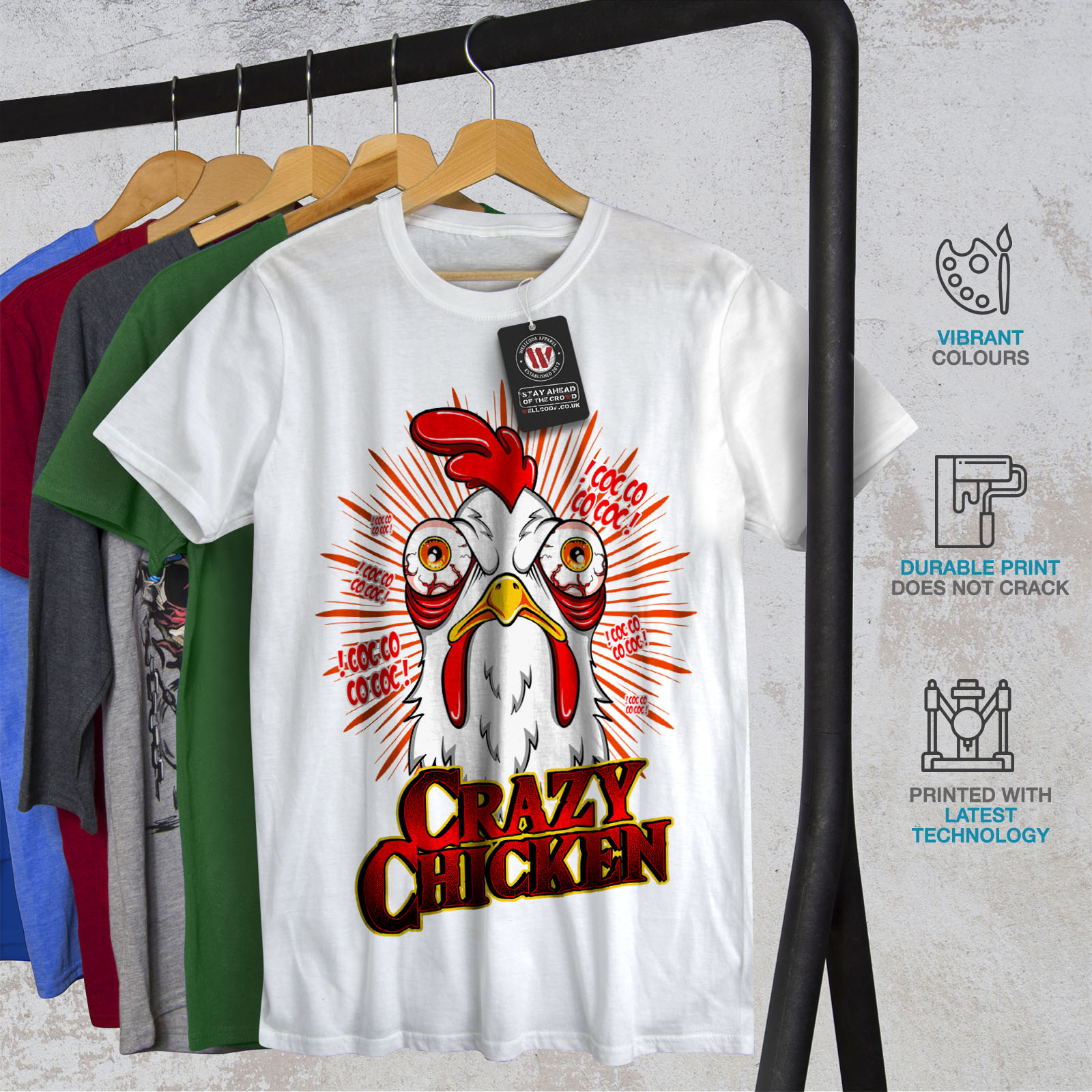 thumbnail 12 - Wellcoda-Crazy-Chicken-Mens-T-shirt-Funny-Face-Graphic-Design-Printed-Tee