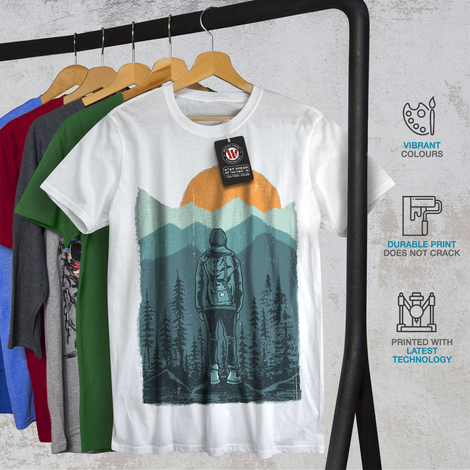Wellcoda-SUNSET-Wilderness-CAMP-Da-Uomo-T-shirt-Wild-design-grafico-stampato-T-shirt miniatura 12