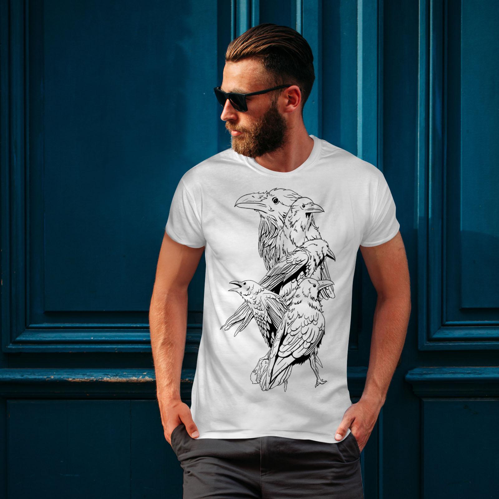 miniature 10 - Wellcoda Four Scary Raven Mens T-shirt, Crow Birds Graphic Design Printed Tee