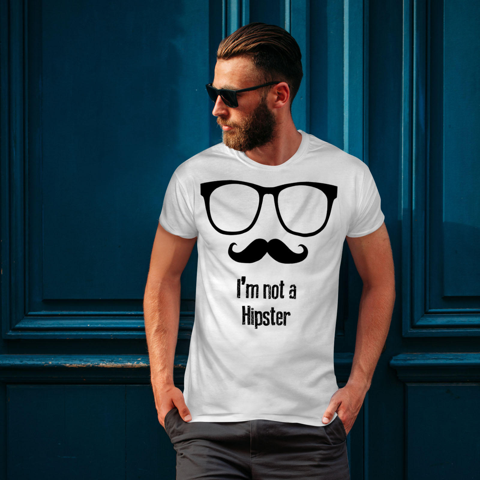 Wellcoda-Moustache-Hipster-Mens-T-shirt-Shades-Graphic-Design-Printed-Tee