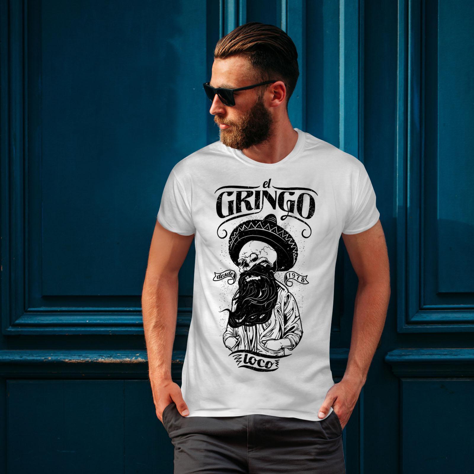 Wellcoda-Gringo-Beard-Skull-Mens-T-shirt-Mexico-Graphic-Design-Printed-Tee thumbnail 10