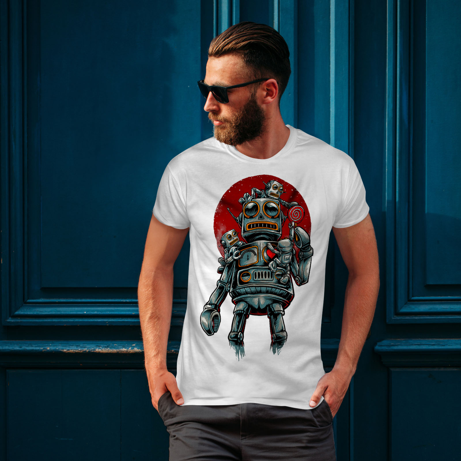 miniature 10 - Wellcoda Crazy Robot Mens T-shirt, Mechanical Graphic Design Printed Tee