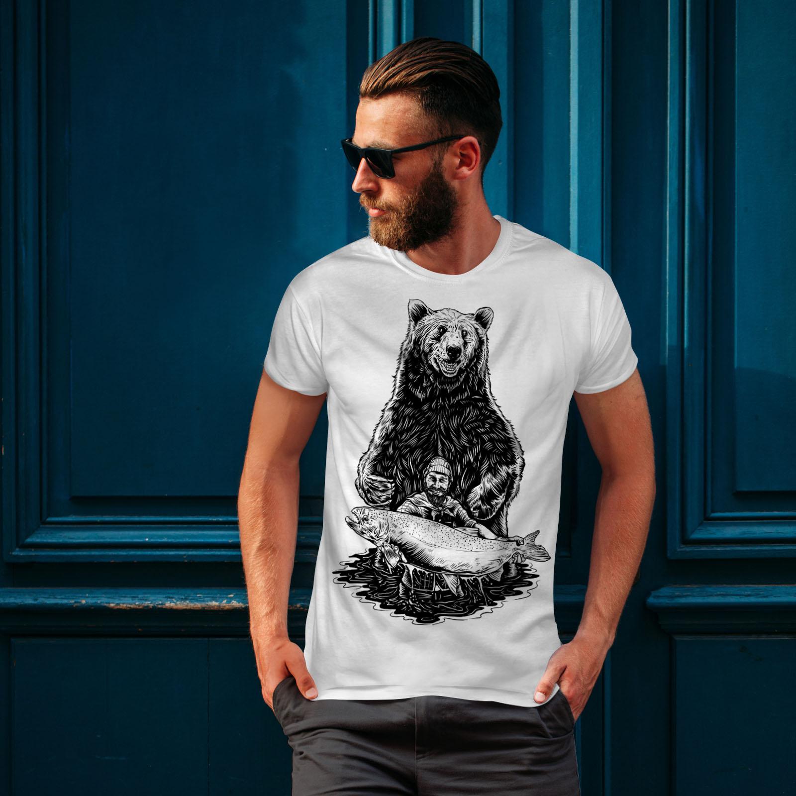 miniature 10 - Wellcoda Fishing Bear Angler Mens T-shirt, Grizzly Graphic Design Printed Tee