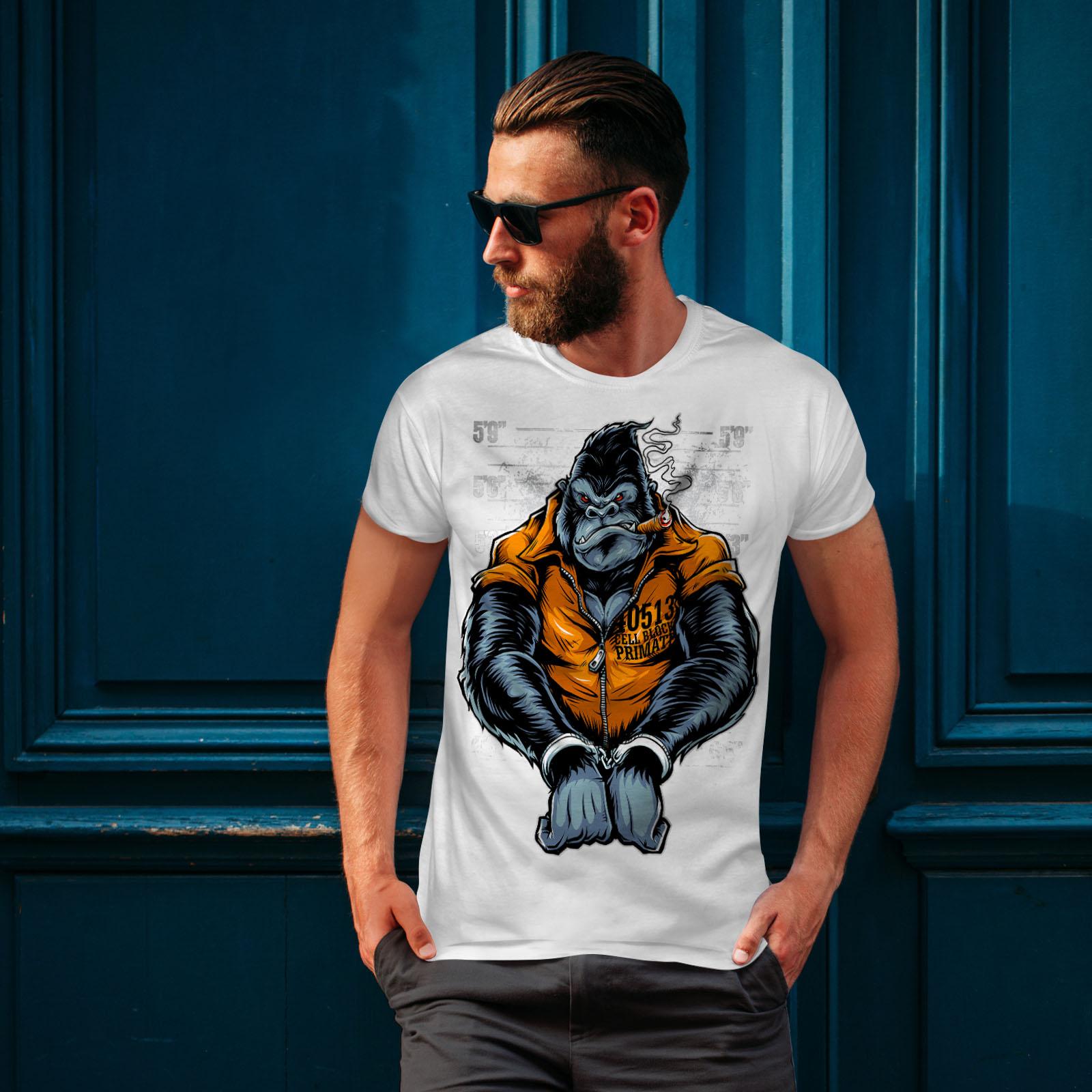 Wellcoda-Monkey-Ape-Prison-Mens-T-shirt-Wild-Graphic-Design-Printed-Tee thumbnail 10