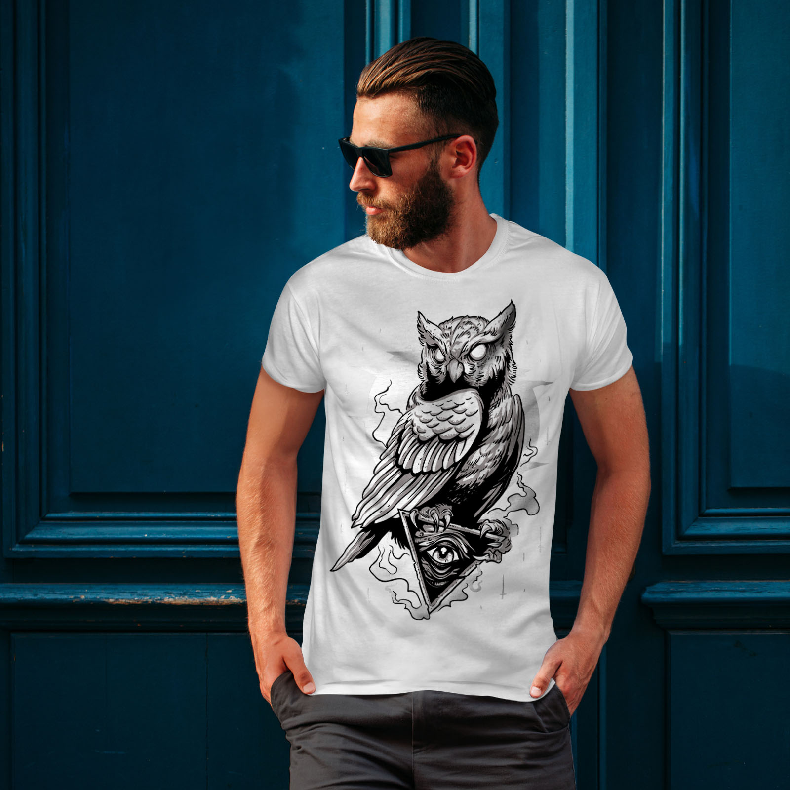 miniature 10 - Wellcoda Triangle Owl Mens T-shirt, Conspiracy Graphic Design Printed Tee