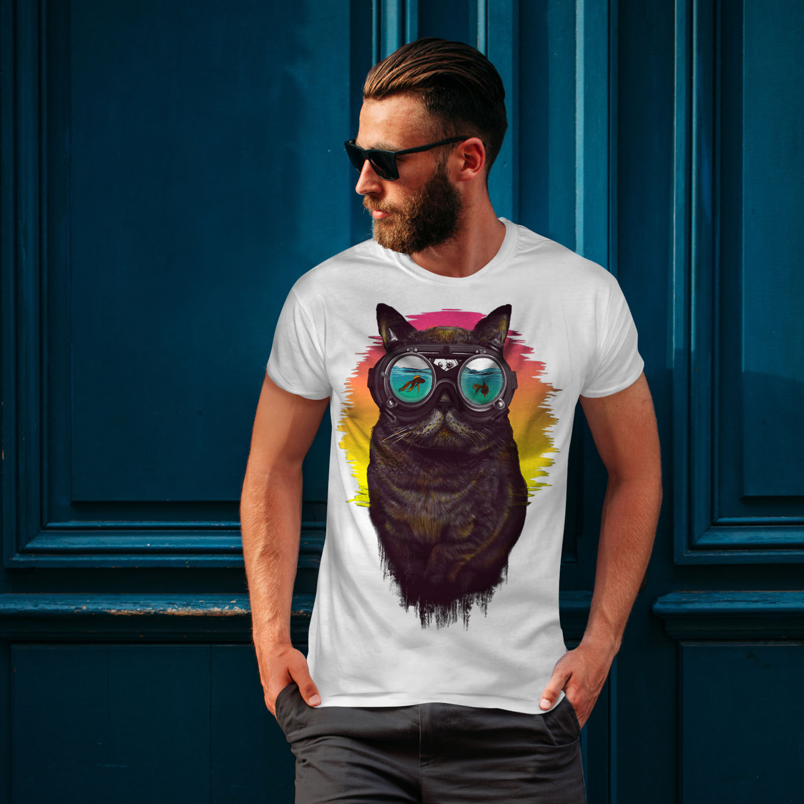 Wellcoda-Hippie-Glasses-Cool-Cat-Mens-T-shirt-Fish-Graphic-Design-Printed-Tee thumbnail 10