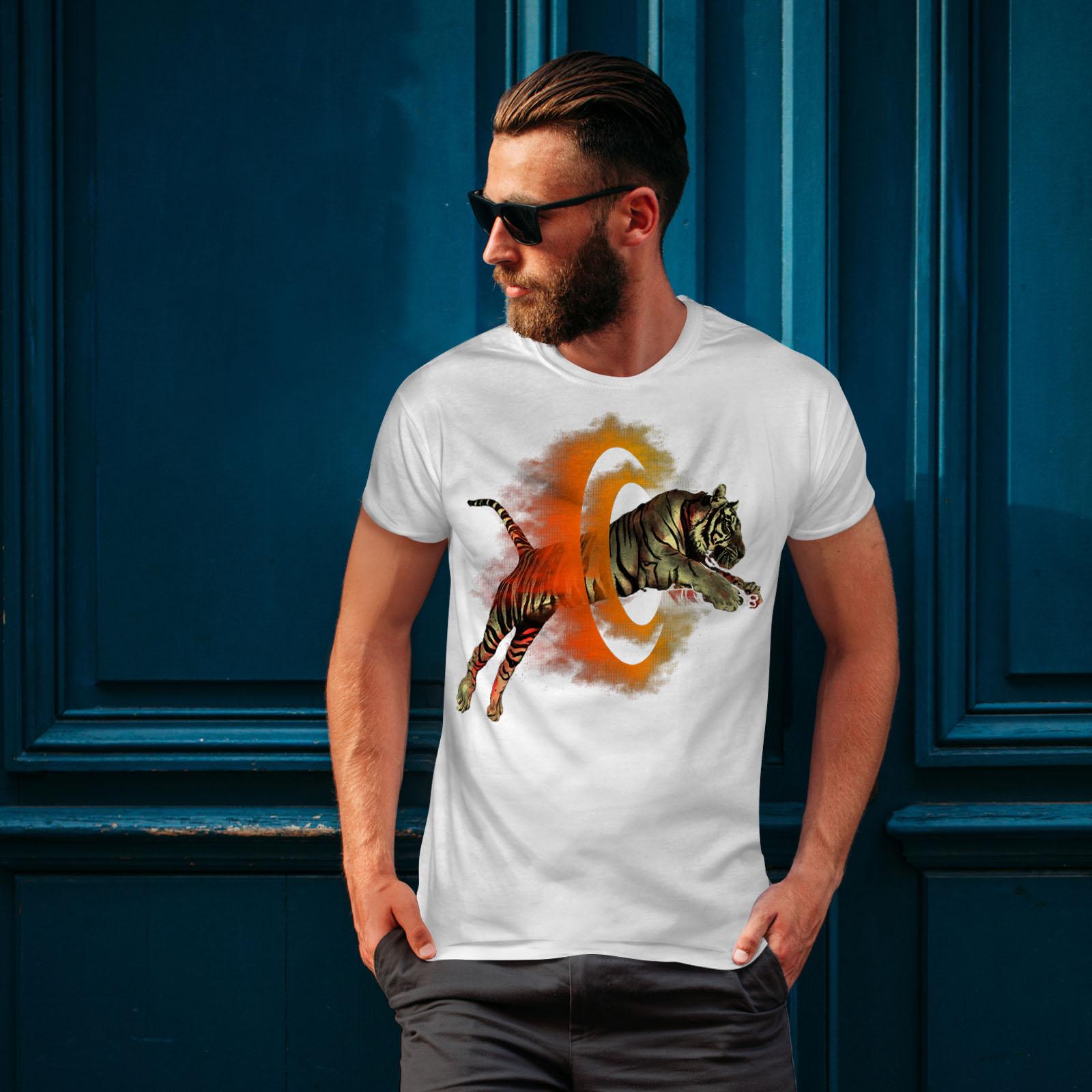 Wellcoda-Tiger-Portal-Cool-Mens-T-shirt-Flame-Graphic-Design-Printed-Tee thumbnail 10