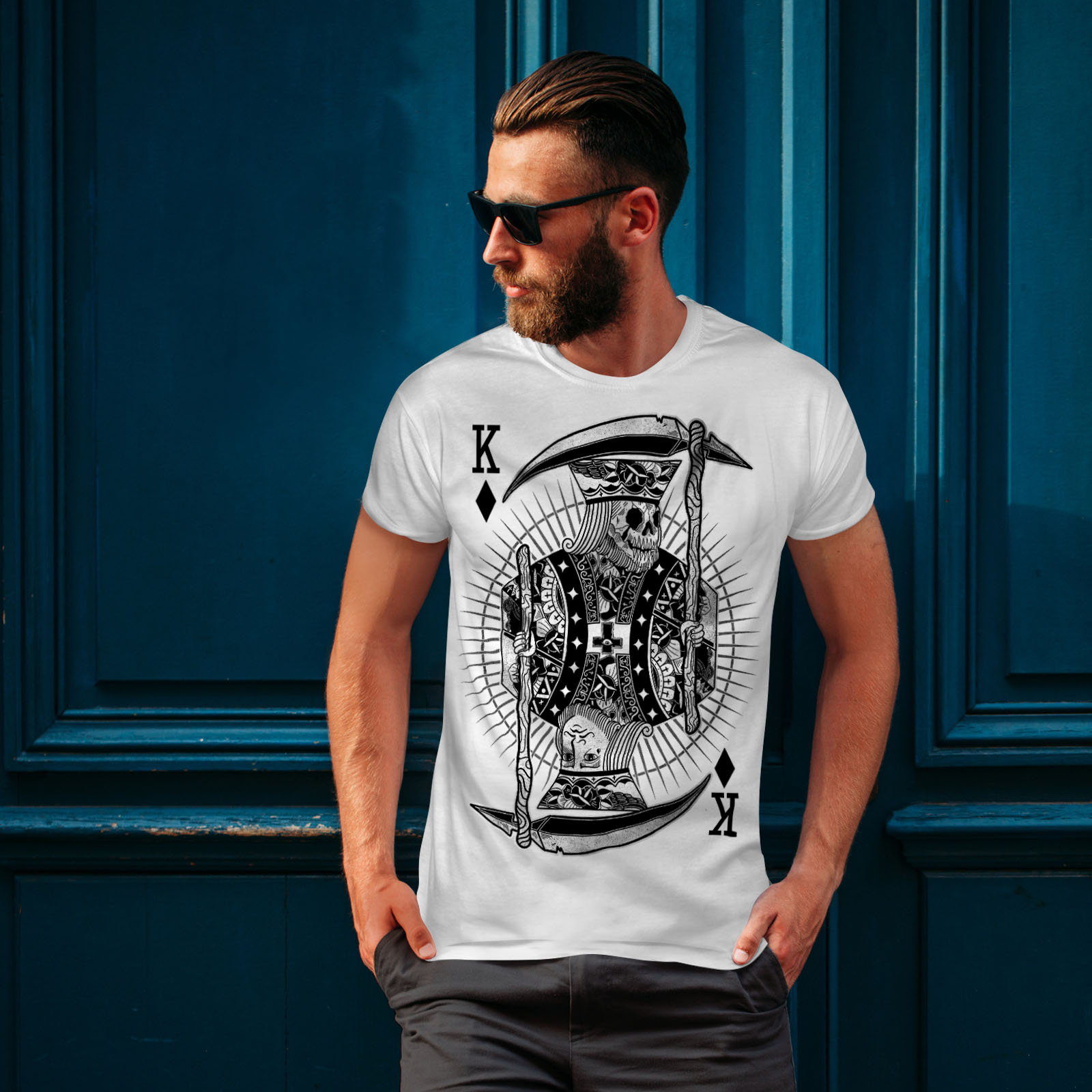 Wellcoda-Poker-Horror-King-Skull-Mens-T-shirt-Graphic-Design-Printed-Tee thumbnail 10