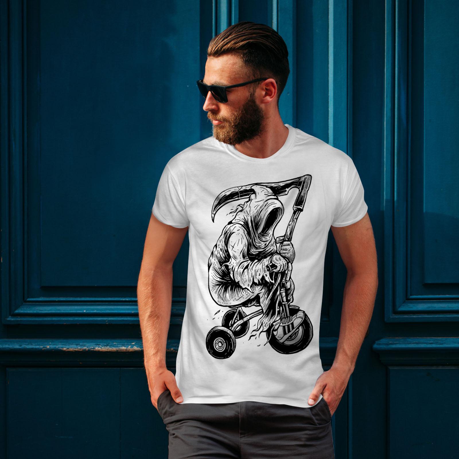 Wellcoda Grim Reaper Horror di corsa da uomo T-shirt 0 Graphic Design Stampato Tee