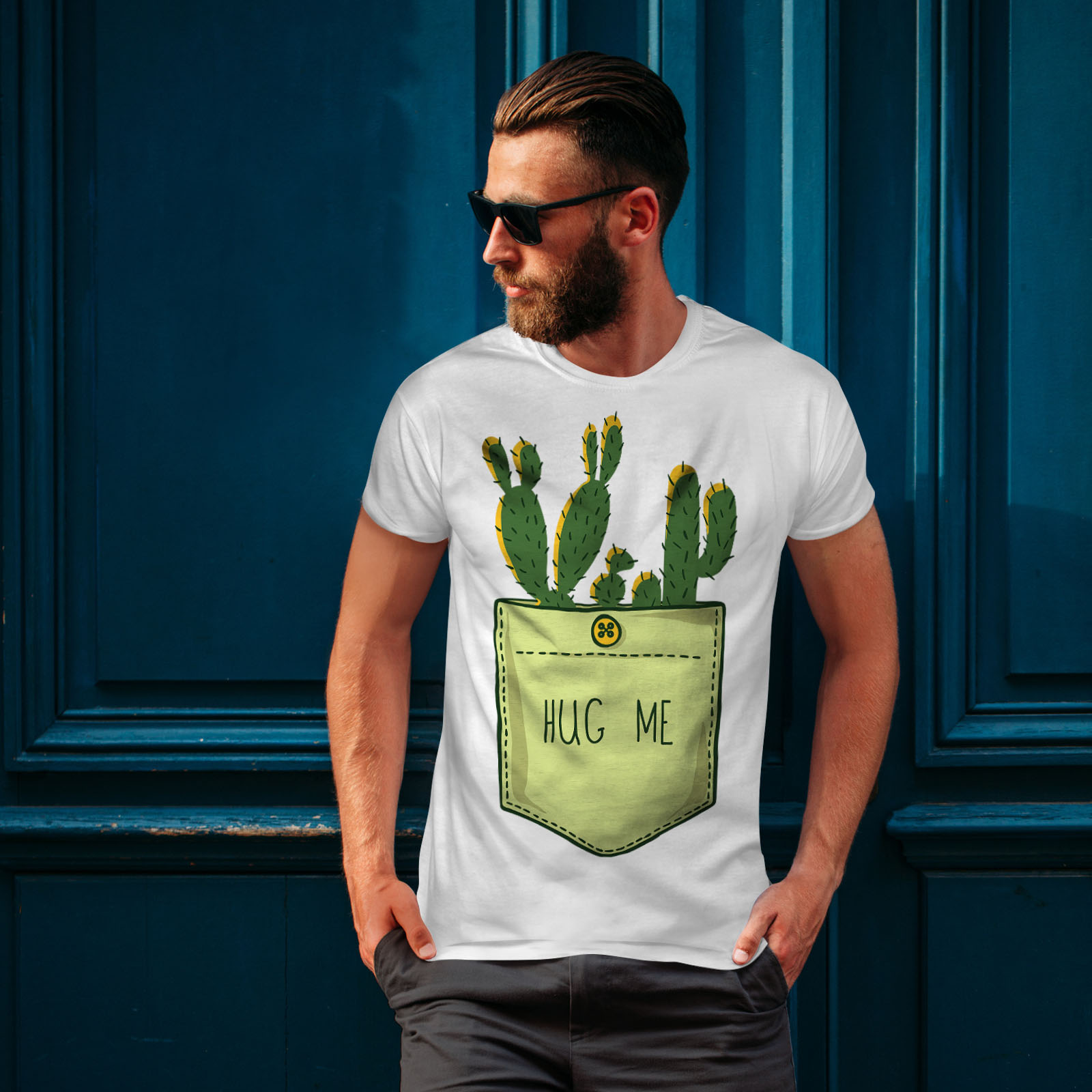miniature 10 - Wellcoda Hug Me Cactus Funny Mens T-shirt,  Graphic Design Printed Tee