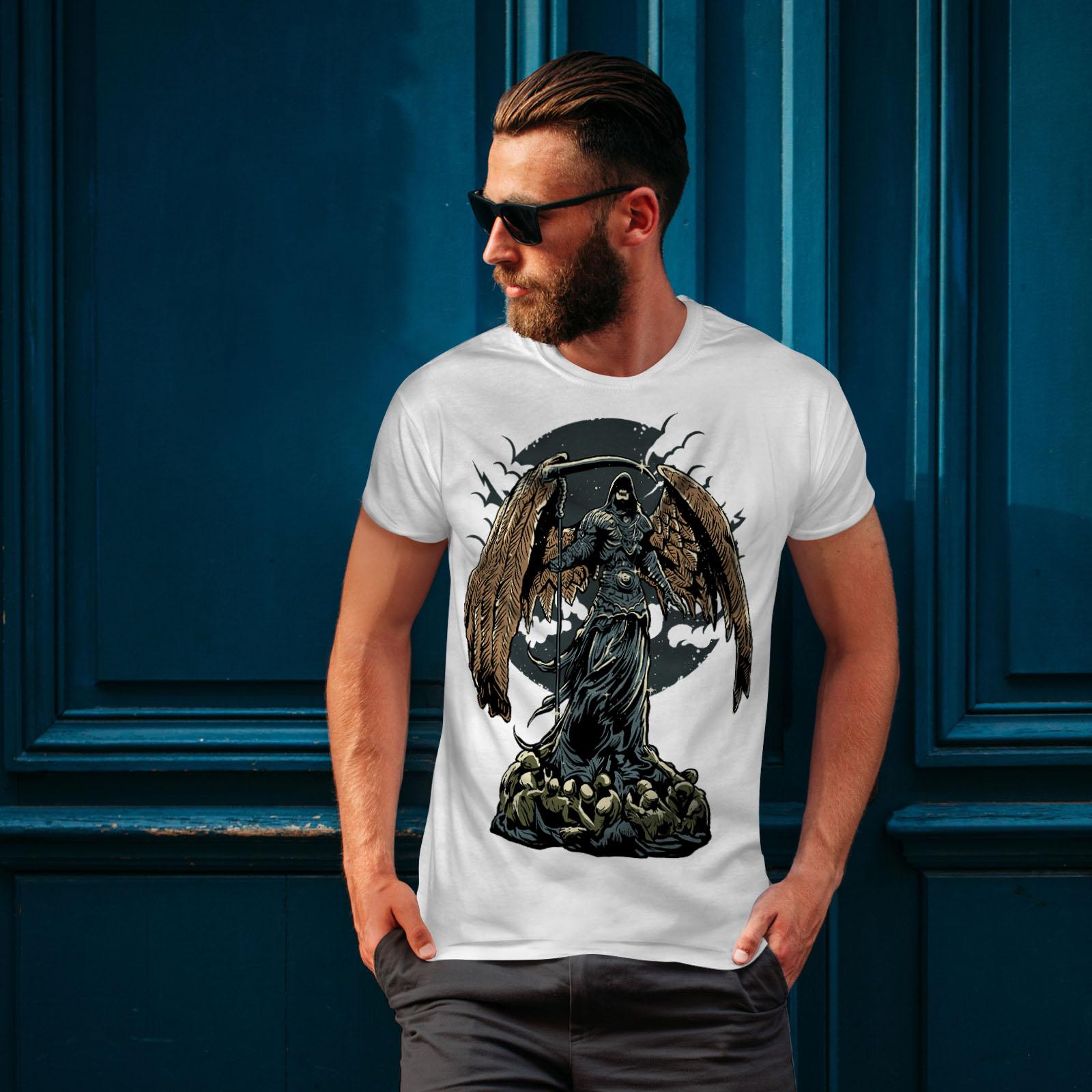 Wellcoda-Evil-Grim-Reaper-Mens-T-shirt-Horror-Graphic-Design-Printed-Tee thumbnail 10