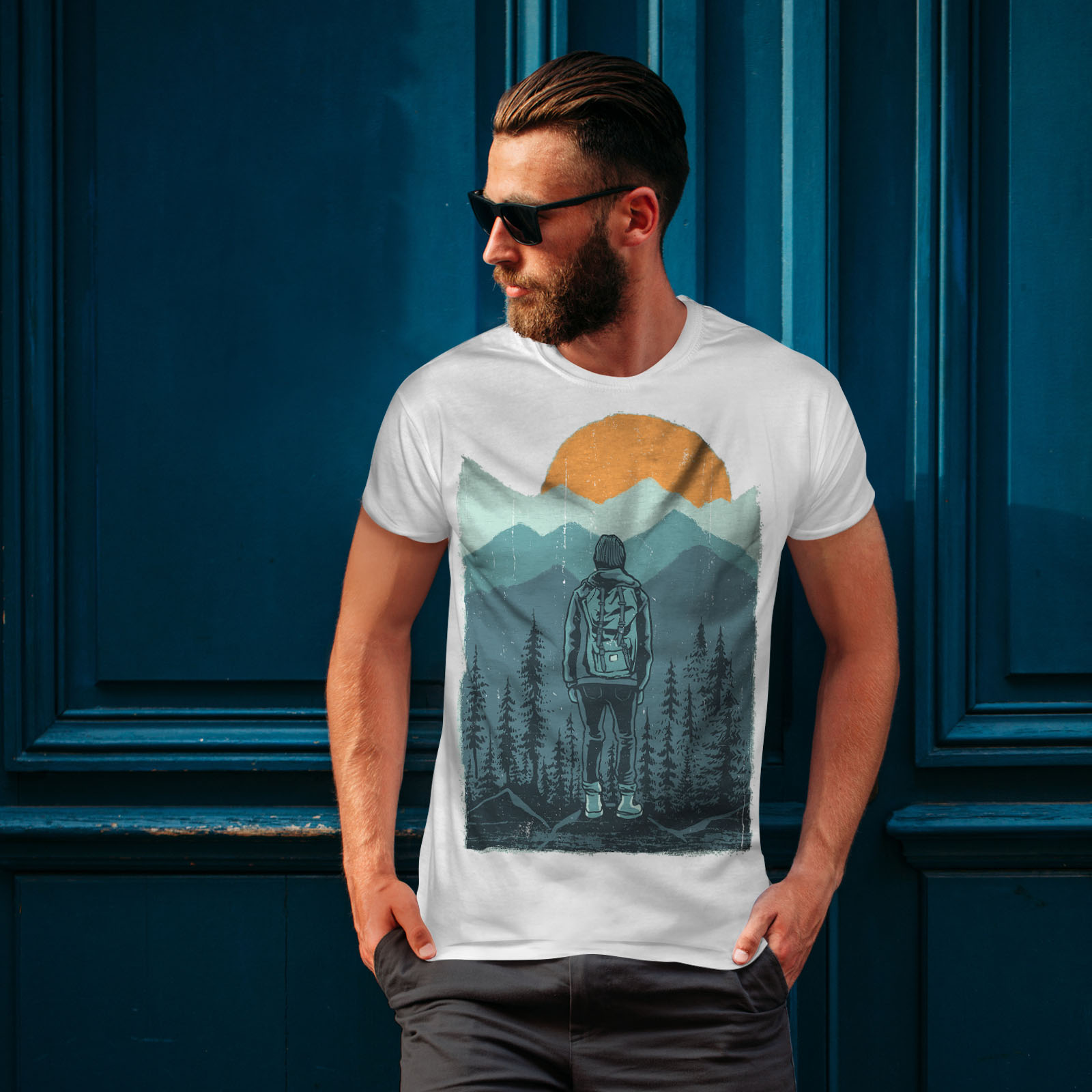 Wellcoda-SUNSET-Wilderness-CAMP-Da-Uomo-T-shirt-Wild-design-grafico-stampato-T-shirt miniatura 10