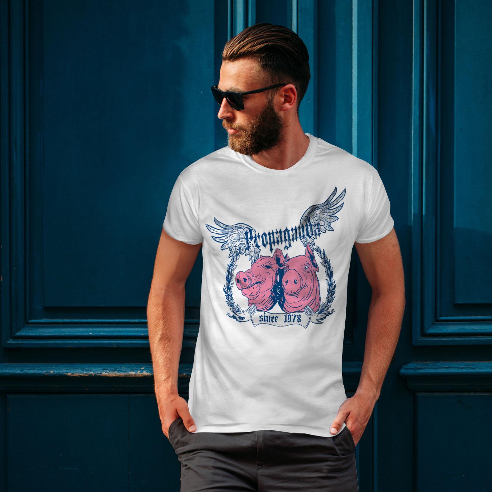 Bored Graphic Design Printed Tee Wellcoda Propaganda Pig Vintage Mens T-shirt