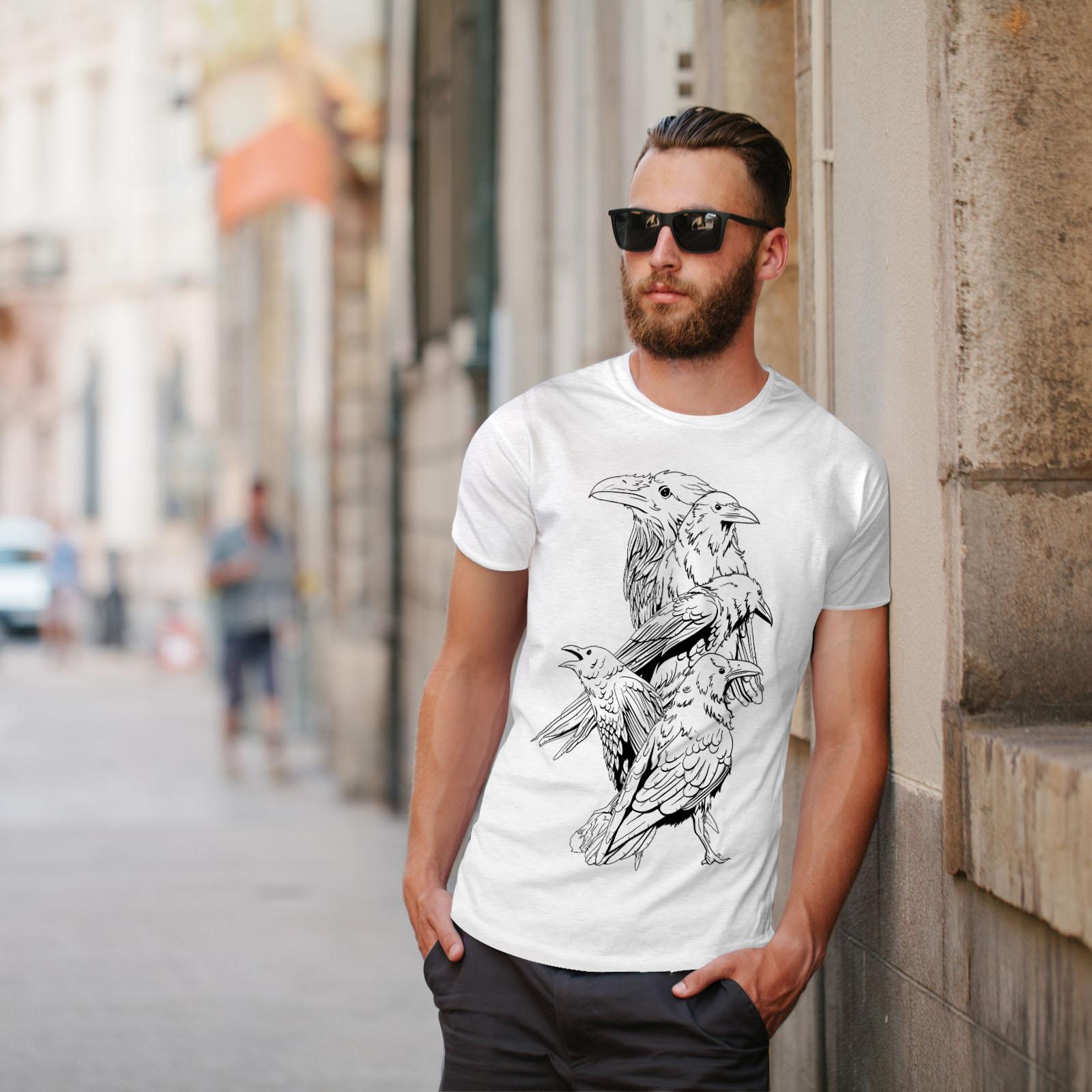 miniature 11 - Wellcoda Four Scary Raven Mens T-shirt, Crow Birds Graphic Design Printed Tee