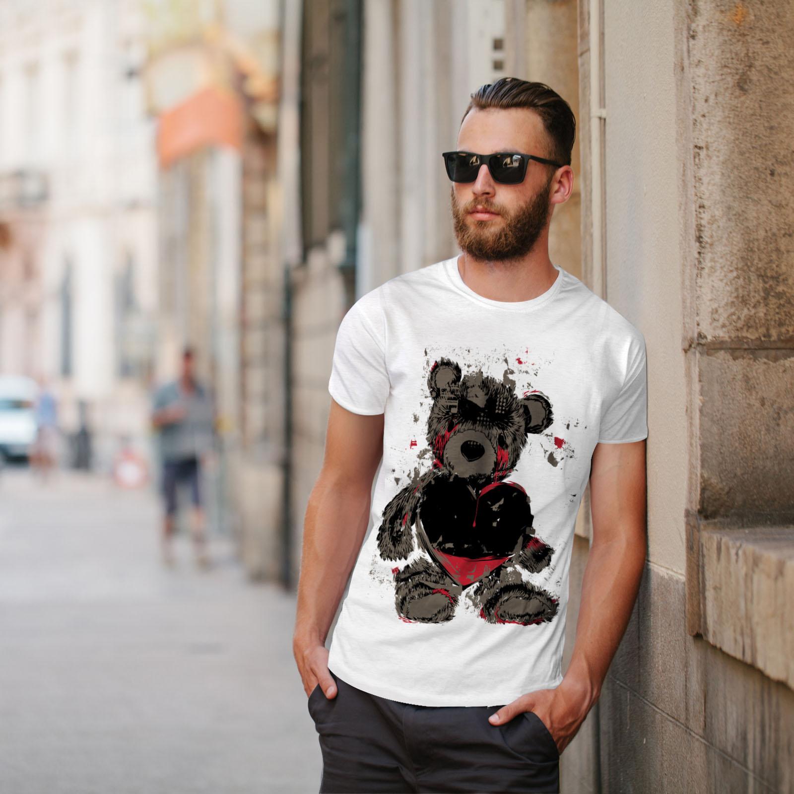 miniature 11 - Wellcoda Teddy Bear Love Hurt Mens T-shirt, Blood Graphic Design Printed Tee