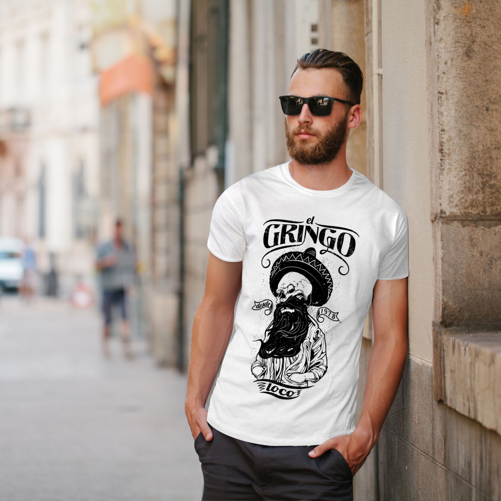 Wellcoda-Gringo-Beard-Skull-Mens-T-shirt-Mexico-Graphic-Design-Printed-Tee thumbnail 11